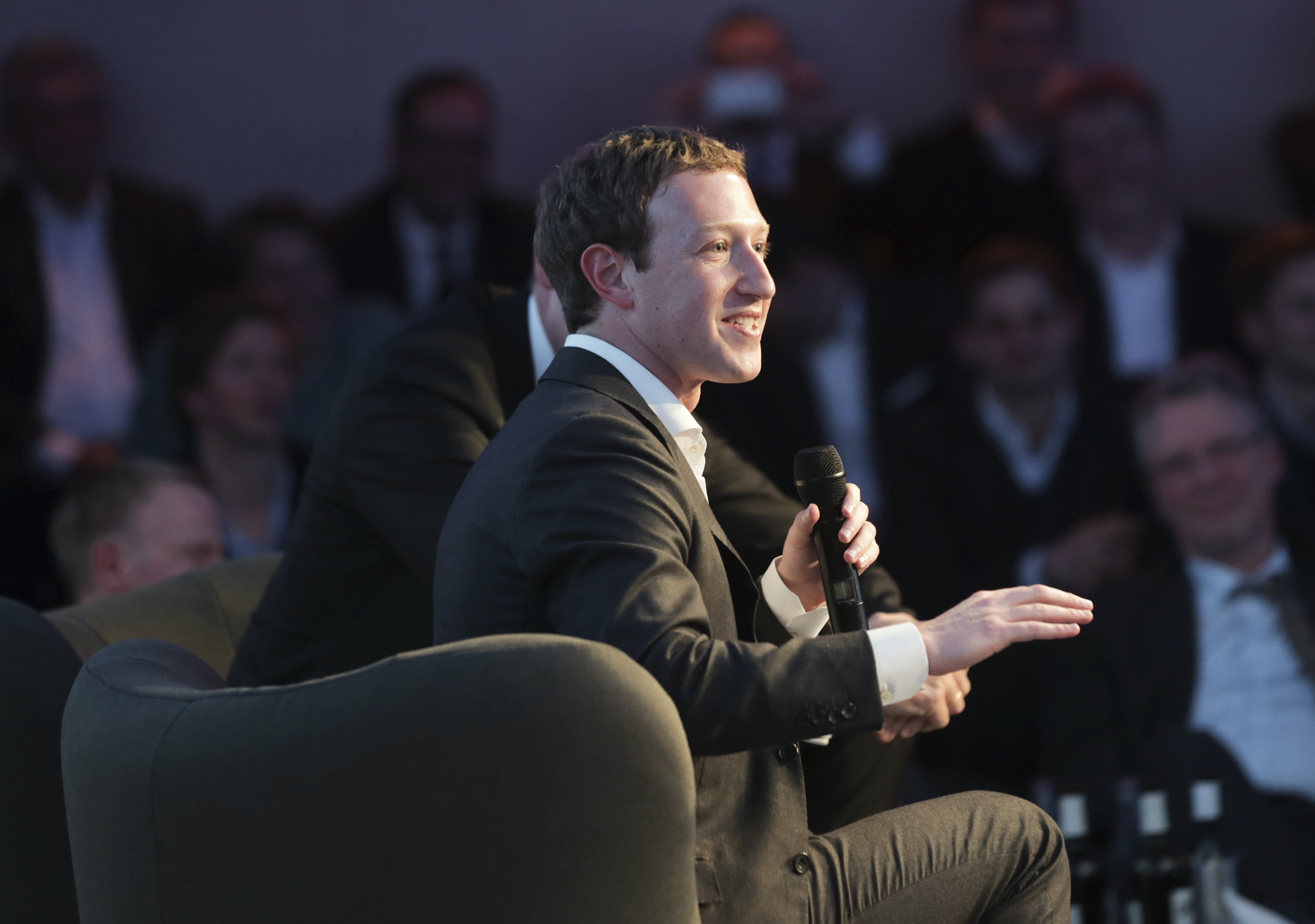 Facebook founder and CEO Zuckerberg delivers a speech at the awards ceremony of the newly established Axel Springer Award in Berlin