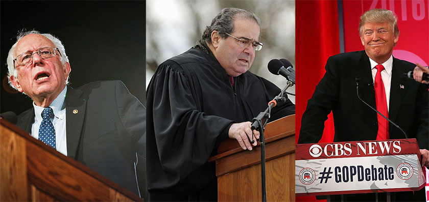 Left to right: Bernie Sanders, Antonin Scalia, Donald Trump