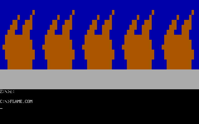 Screenshot of the vintage Flame.com virus, as featured in the Malware Museum.
