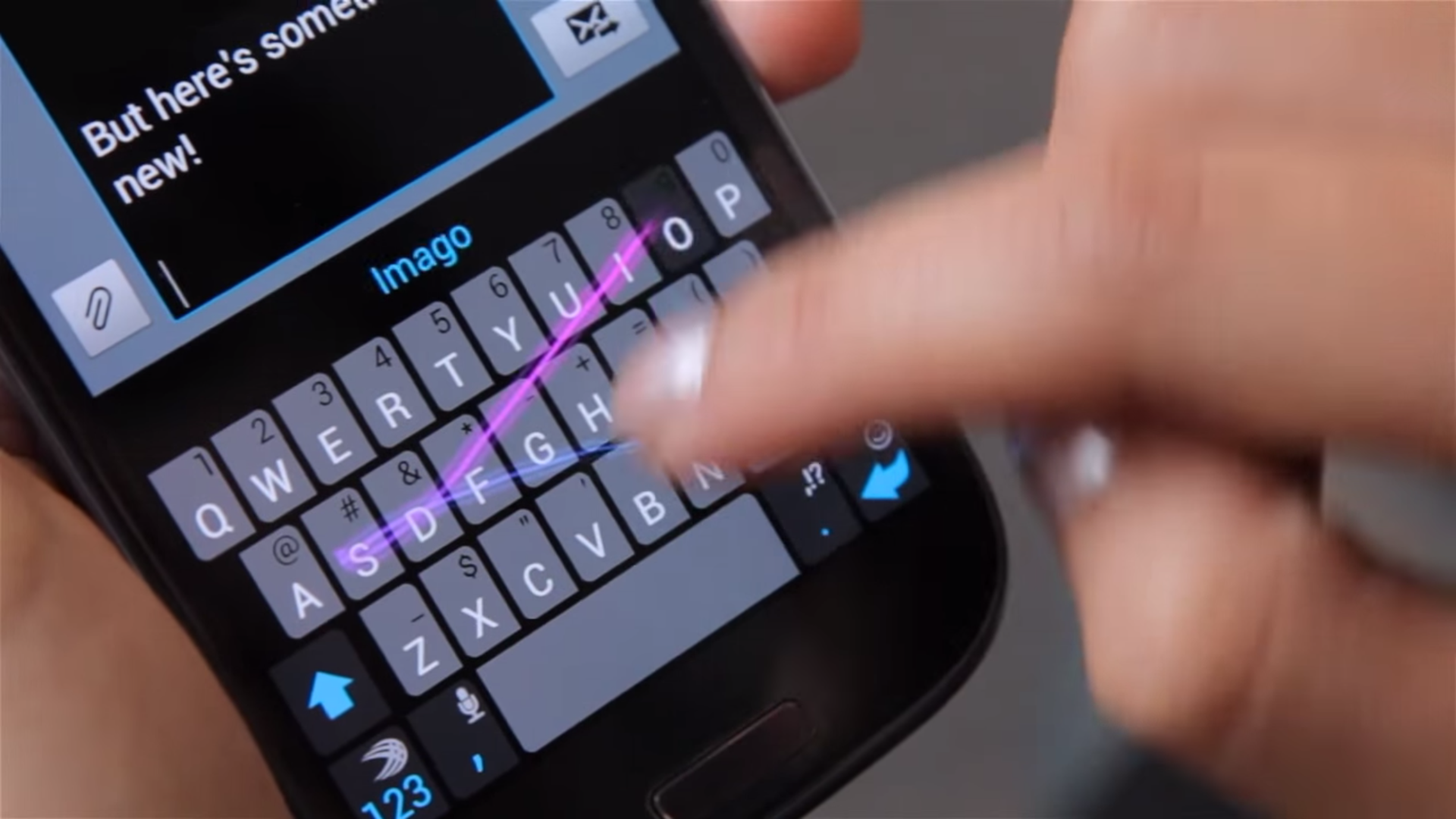 A frame from a SwiftKey instructional video