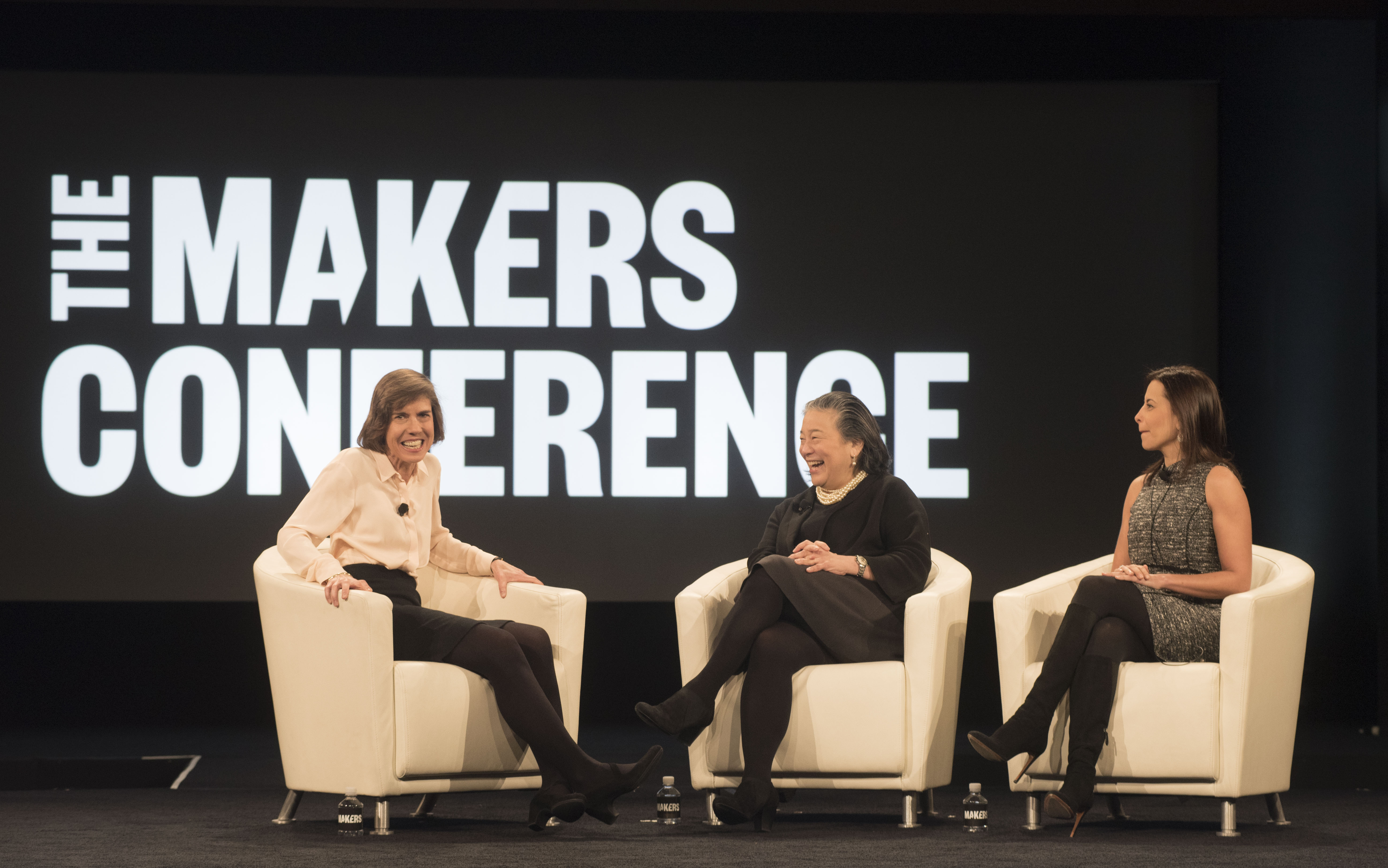 Pattie Sellers, executive director of Fortune MPW/live content talks to Tina Tchen, an assistant to President Obama and chief of staff to the Michelle Obama, and Dina Habib Powell, head of Goldman Sachs' Impact Investing business, global head of corporate engagement and president of Goldman Sachs Foundation at the MAKERS conference in Rancho Palos Verdes, CA.