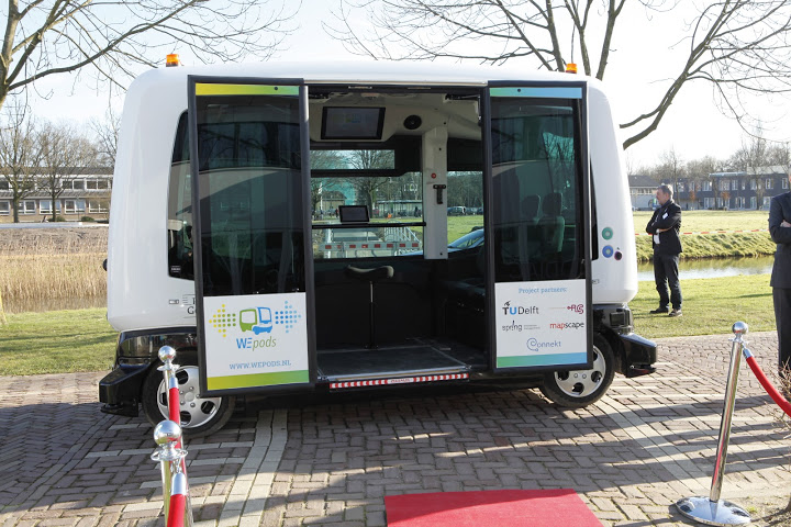 A WEpod driverless bus on display at a public event last year.