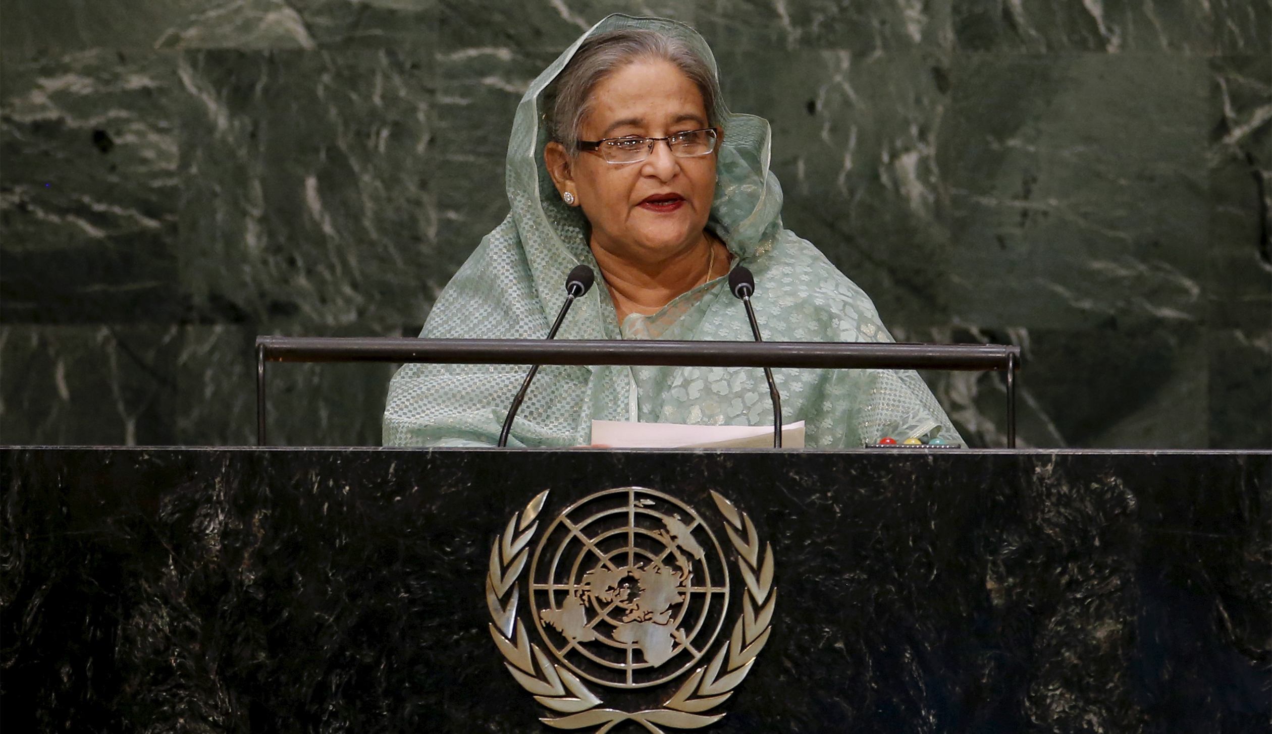Bangladesh's Prime Minister Sheikh Hasina addresses a plenary meeting of the United Nations Sustainable Development Summit 2015 at the United Nations headquarters in Manhattan, New York