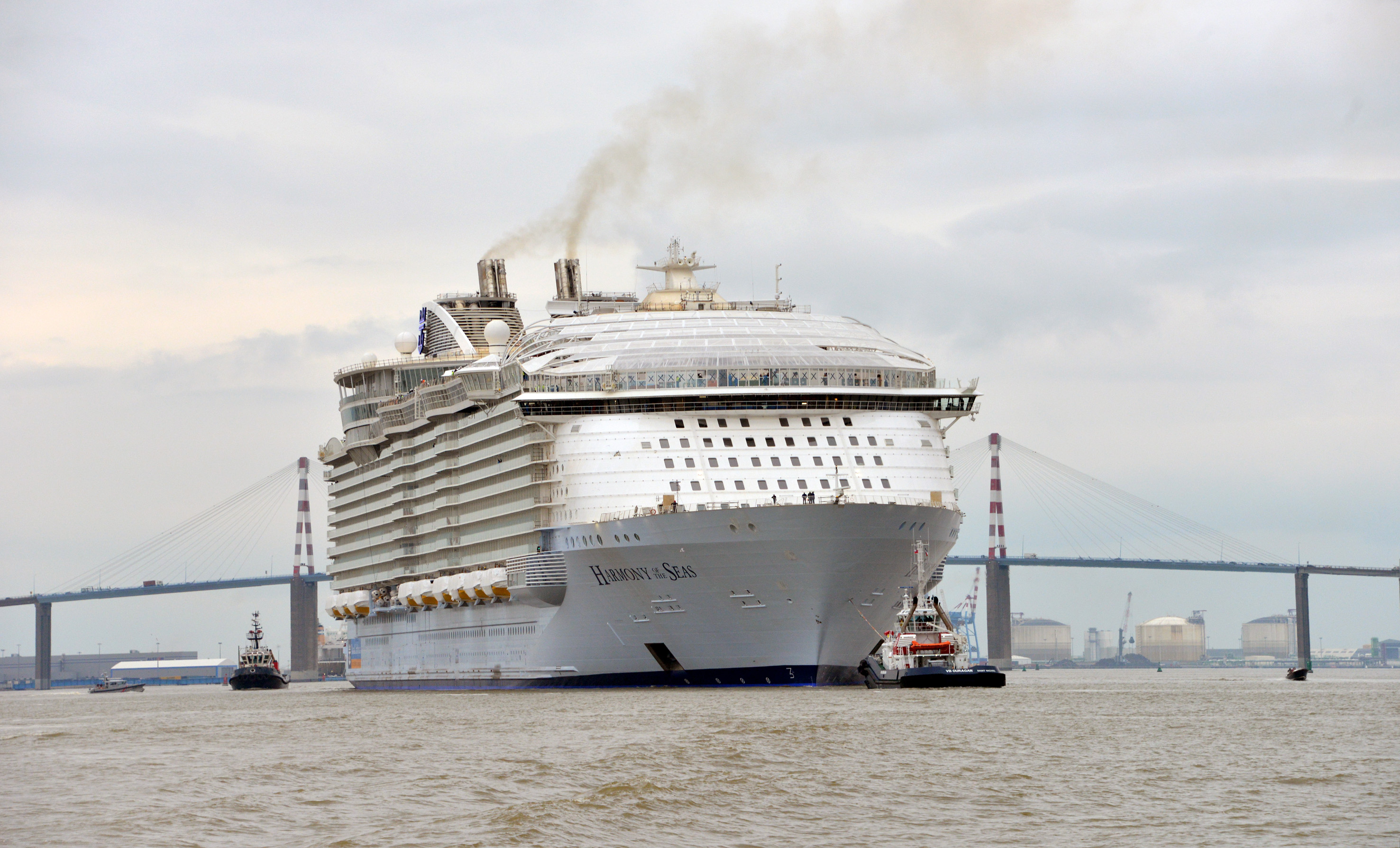 Royal Caribbean's Harmony of the Seas sets sail on a sea trial off the coast of France with a planned debut expected for the spring season.