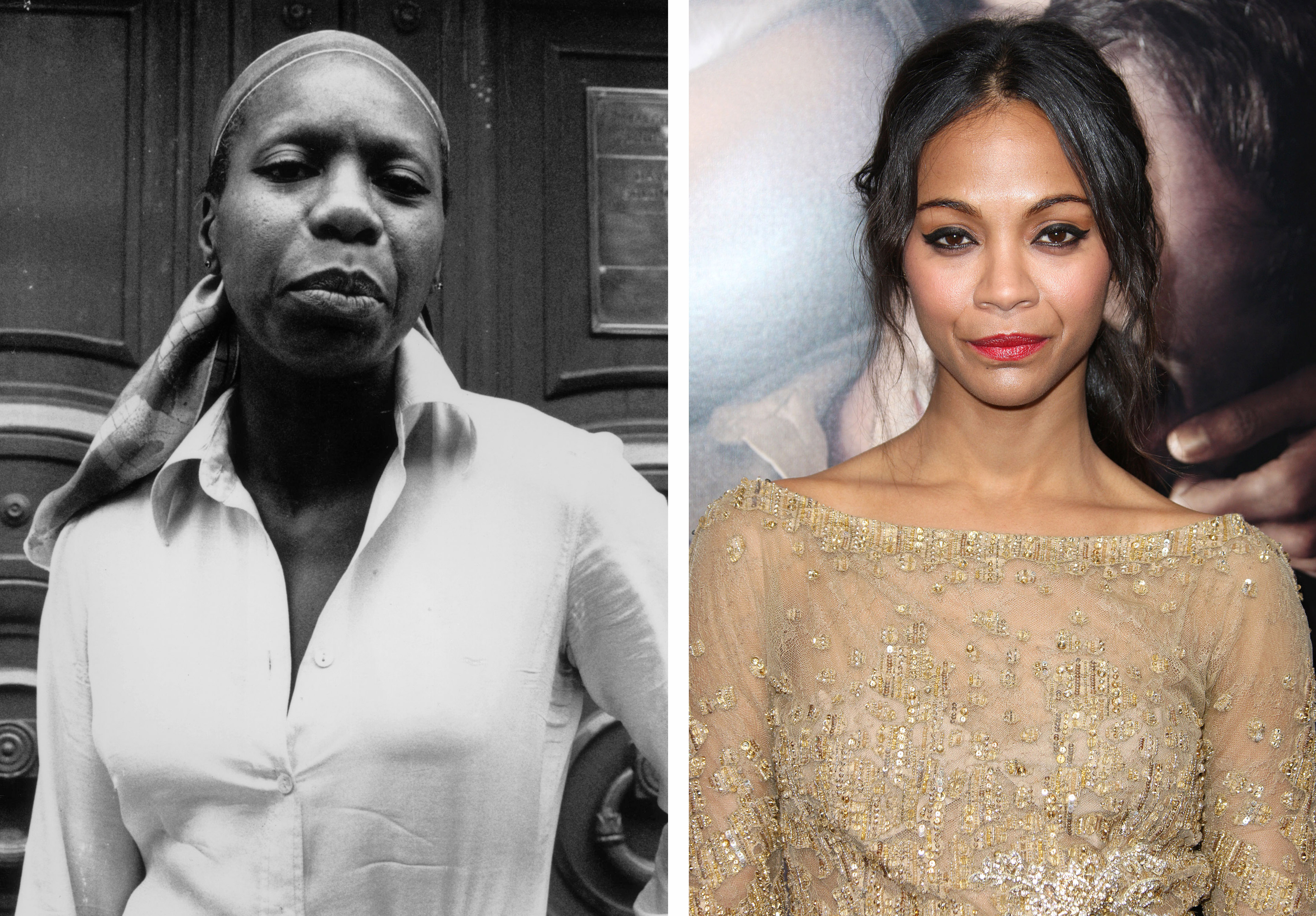A composite of images of musician Nina Simone (L) and the actress chosen to portray her in a new biopic, Zoe Saldana.