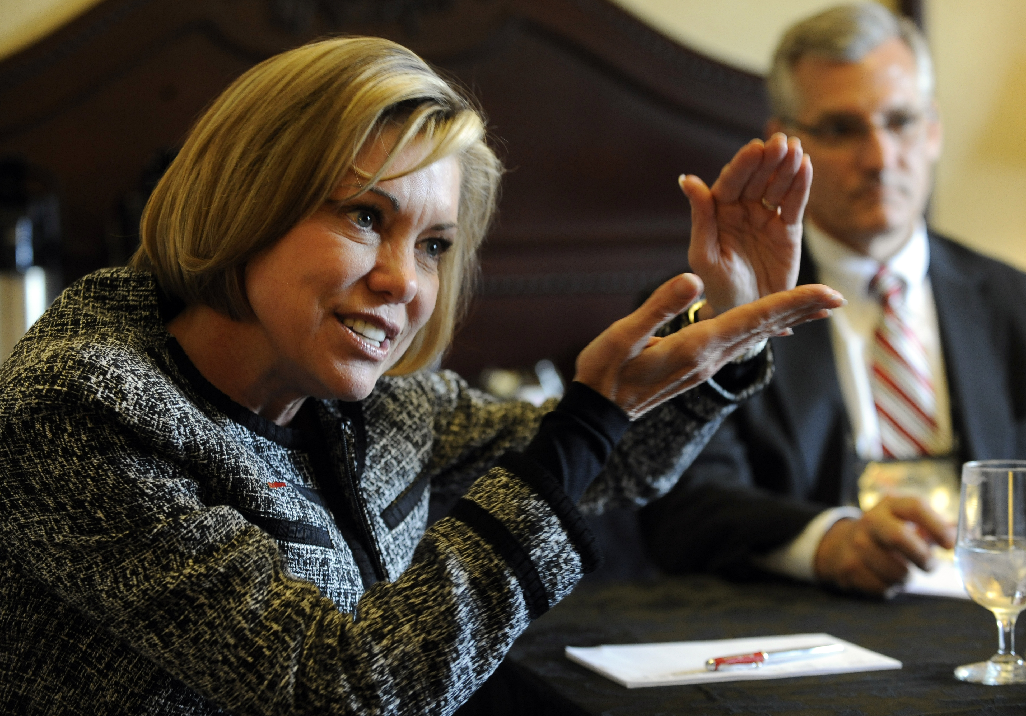 President of Raytheon Intelligence and Information Services, Lynn Dugle, talks about new ventures at the 28th National Space Symposium at the Broadmoor Hotel in Colorado Springs Tuesday afternoon. Andy Cross, The Denver Post