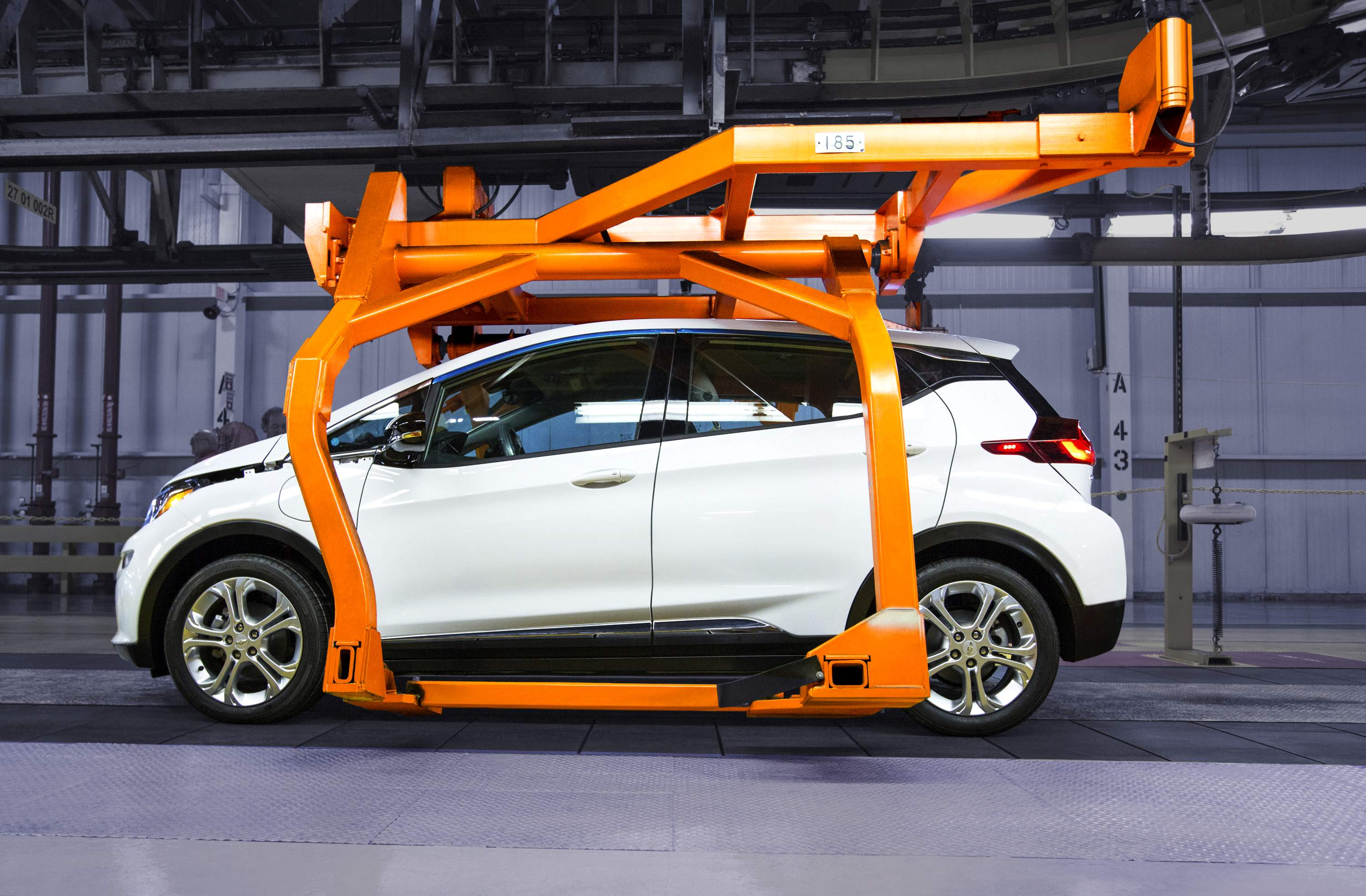 A Chevrolet Bolt EV pre-production vehicle on the assembly line March 16, 2016 at the General Motors Orion Assembly Plant in Orion Township, Mich.