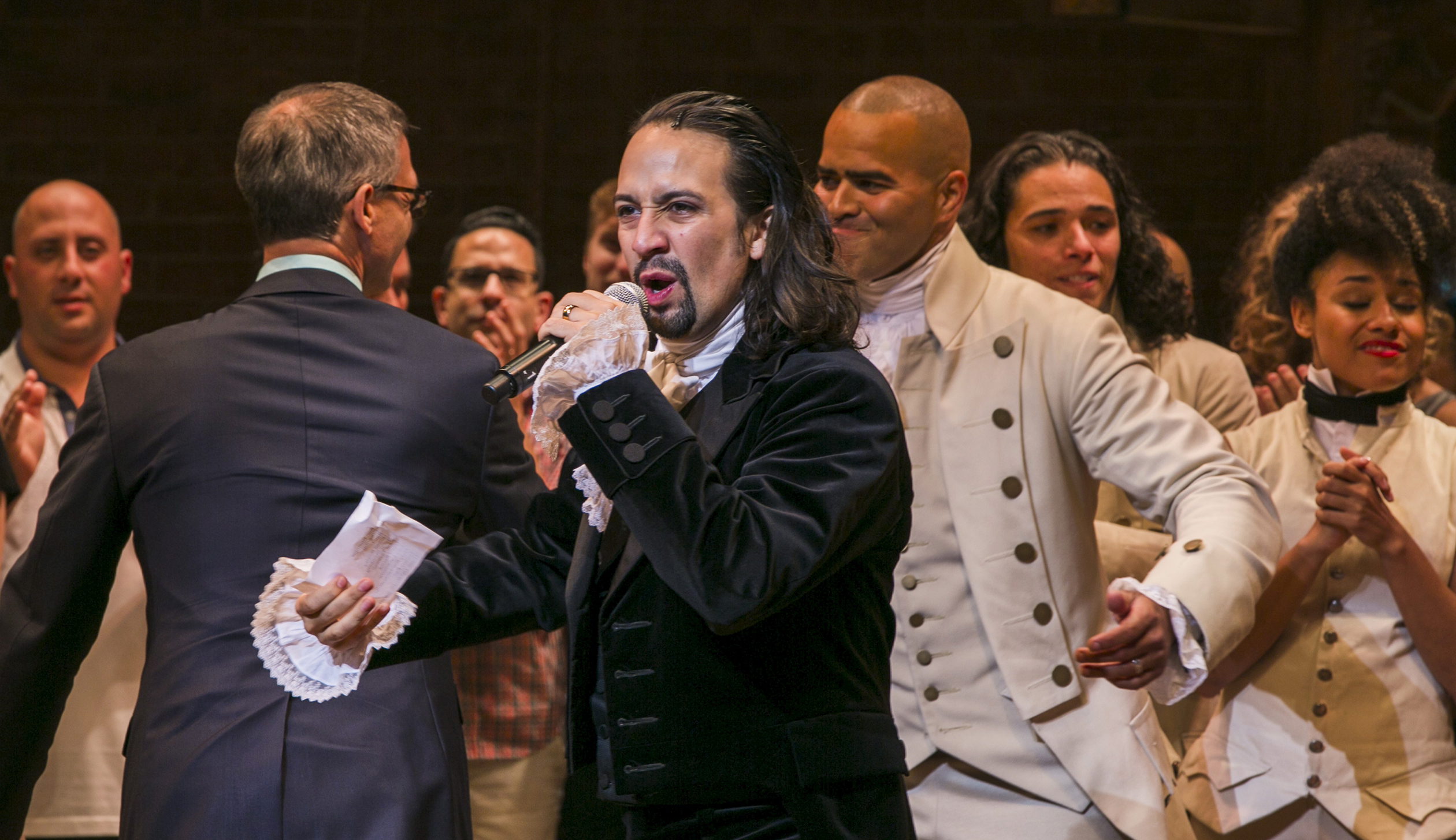 """Lin-Manuel Miranda, actor and creator of the of the play """"Hamilton,"""" addresses the audience after the plays opening night on Broadway in New York"""