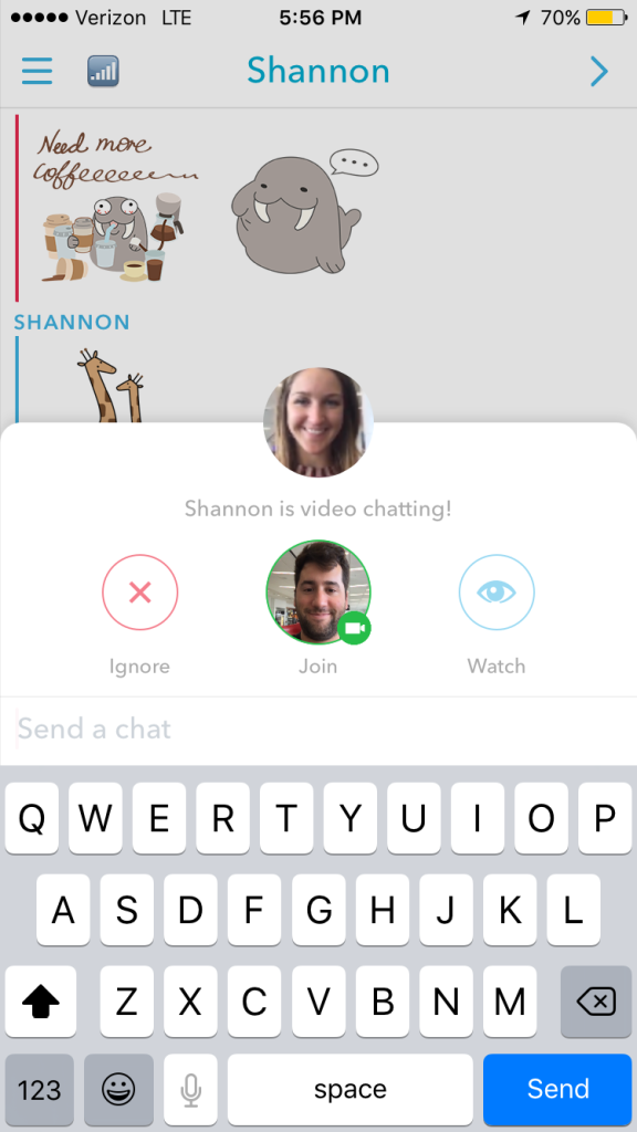 Snapchat's new video and audio calling.