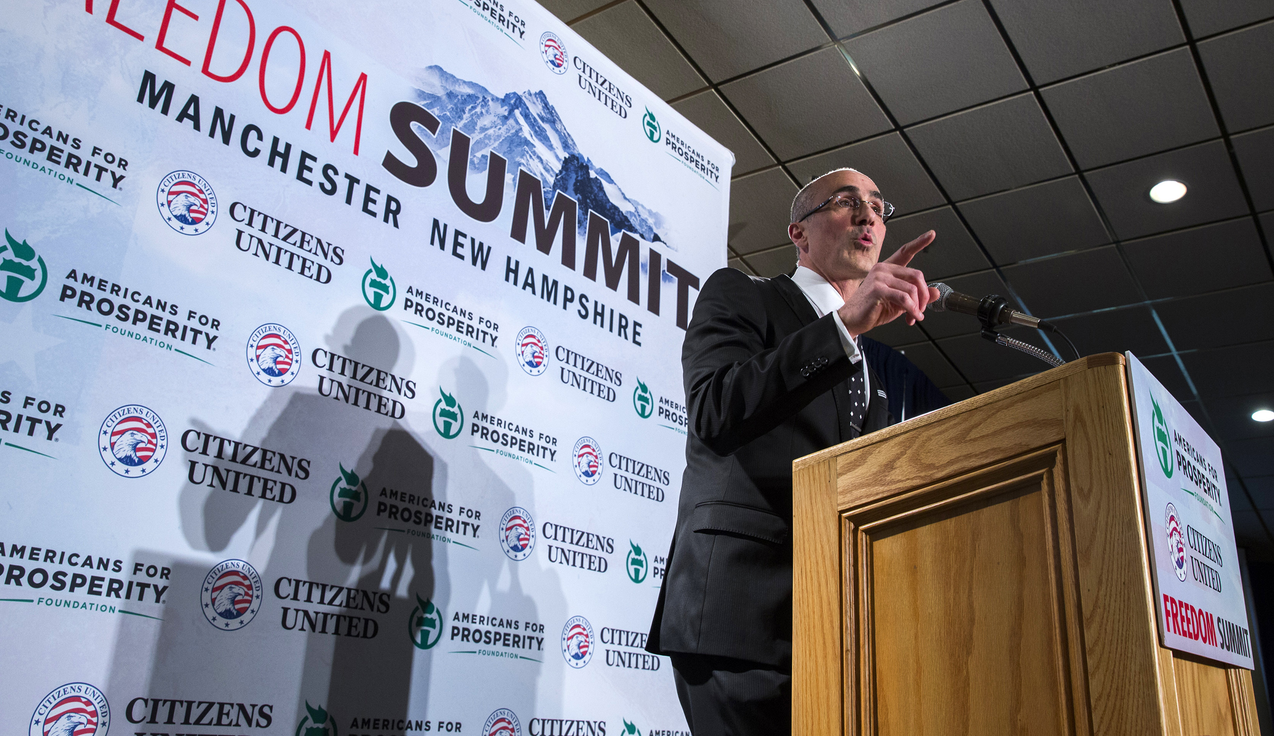 Economist Arthur Brooks speaks during the inaugural Freedom Summit meeting for conservative speakers in Manchester
