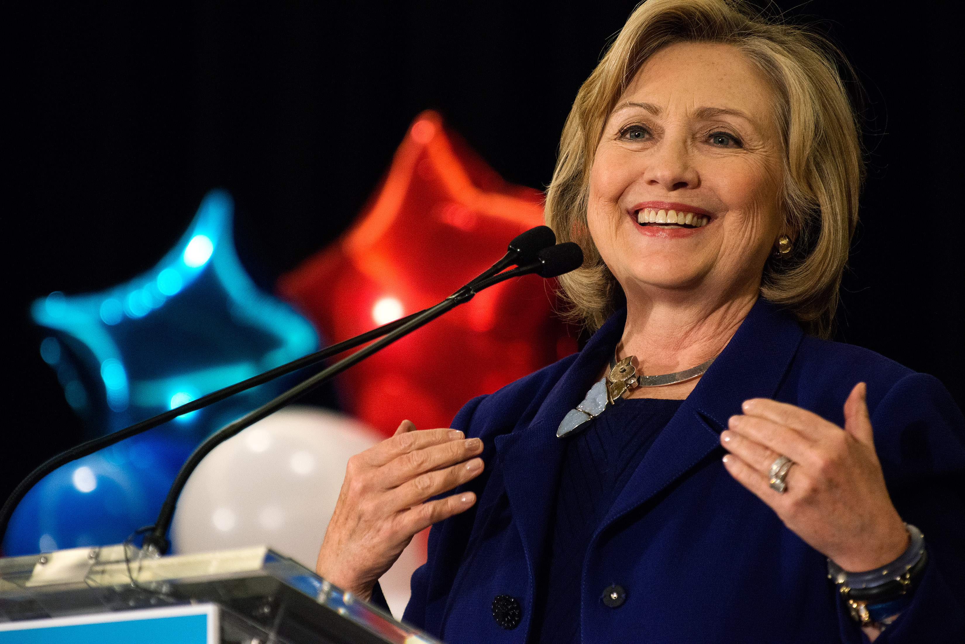 "NEW YORK, NY - OCTOBER 23: Former U.S. Secretary of State and U.S. Sen. Hillary Rodham Clinton speaks during a ""Women for Cuomo"" campaign event on October 23, 2014 at the Grand Hyatt Hotel in New York, NY. Cuomo was joined by Clinton who, citing his record on women's rights, endorsed him in the upcoming gubernatorial election on November 4, 2014. U.S. Rep. Kathy Hochul, the Democratic nominee for New York Lt. Gov., also spoke at the event. (Photo by Bryan Thomas/Getty Images)"