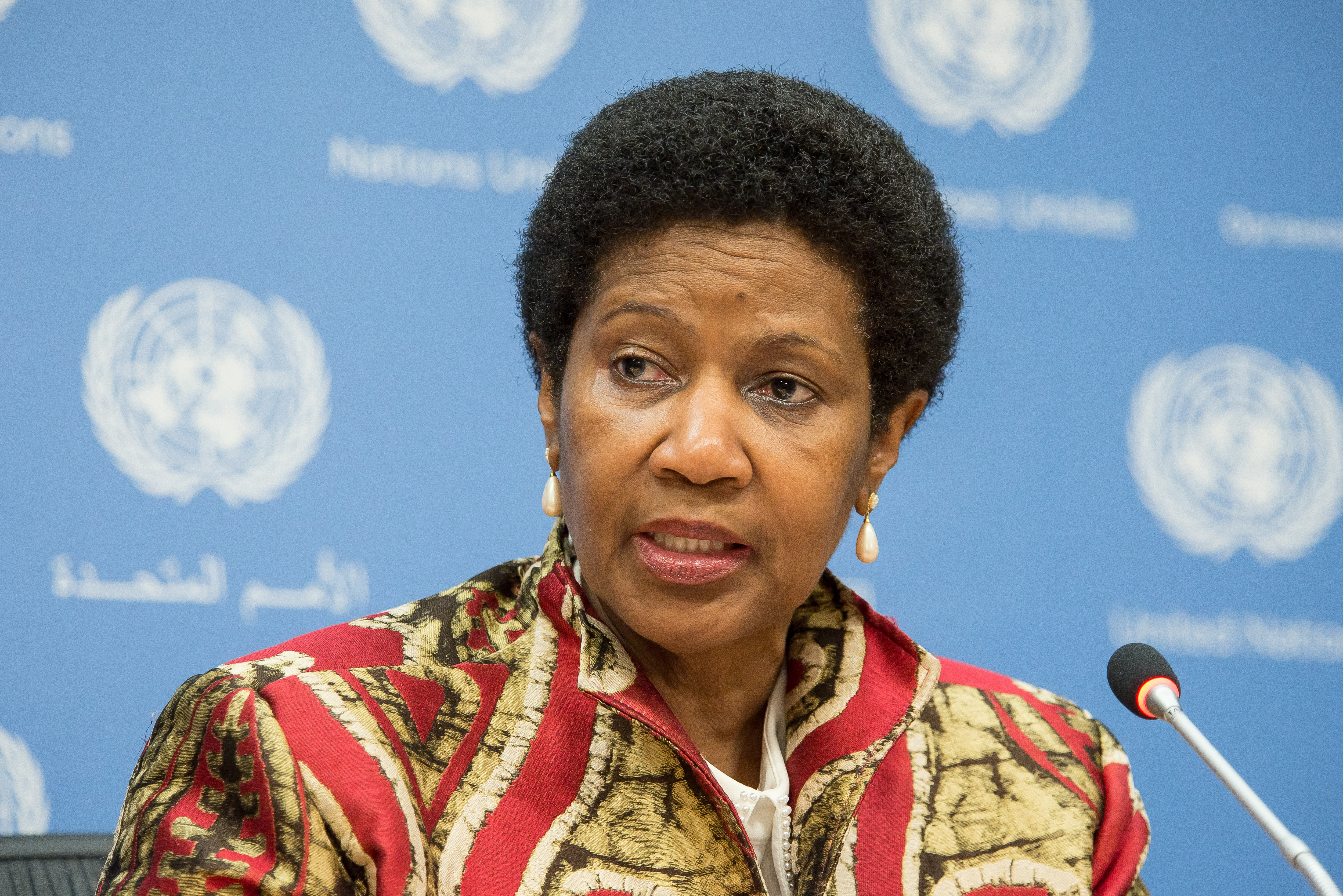 UNITED NATIONS, NEW YORK, NY, UNITED STATES - 2015/10/12: Phumzile Mlambo-Ngcuka, Executive Director for UN Women addresses the press. Officials from UN Women held a press conference at United Nations Headquarters in New York to mark the 15th anniversary of Security Council Resolution 1325 which called for an increased involvement by women as active participants in conflict negotiation, peacemaking efforts and post-conflict reconstruction; the briefing announced the release of a study of Resolution 1325. (Photo by Albin Lohr-Jones/Pacific Press/LightRocket via Getty Images)