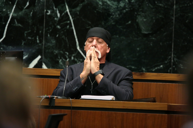 Terry Bollea, aka Hulk Hogan, testifies in court during his trial against Gawker Media