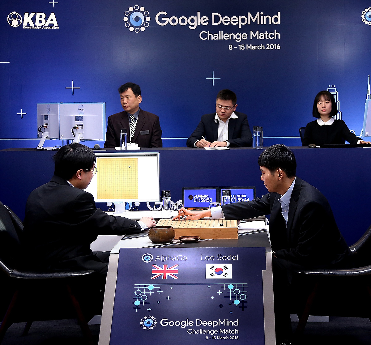 South Korean professional Go player Lee Se-dol competes against Google's AlphaGo on March 10, 2016 in Seoul, South Korea. Lee Se-dol played a five-game match against a computer program developed by a Google, AlphaGo.