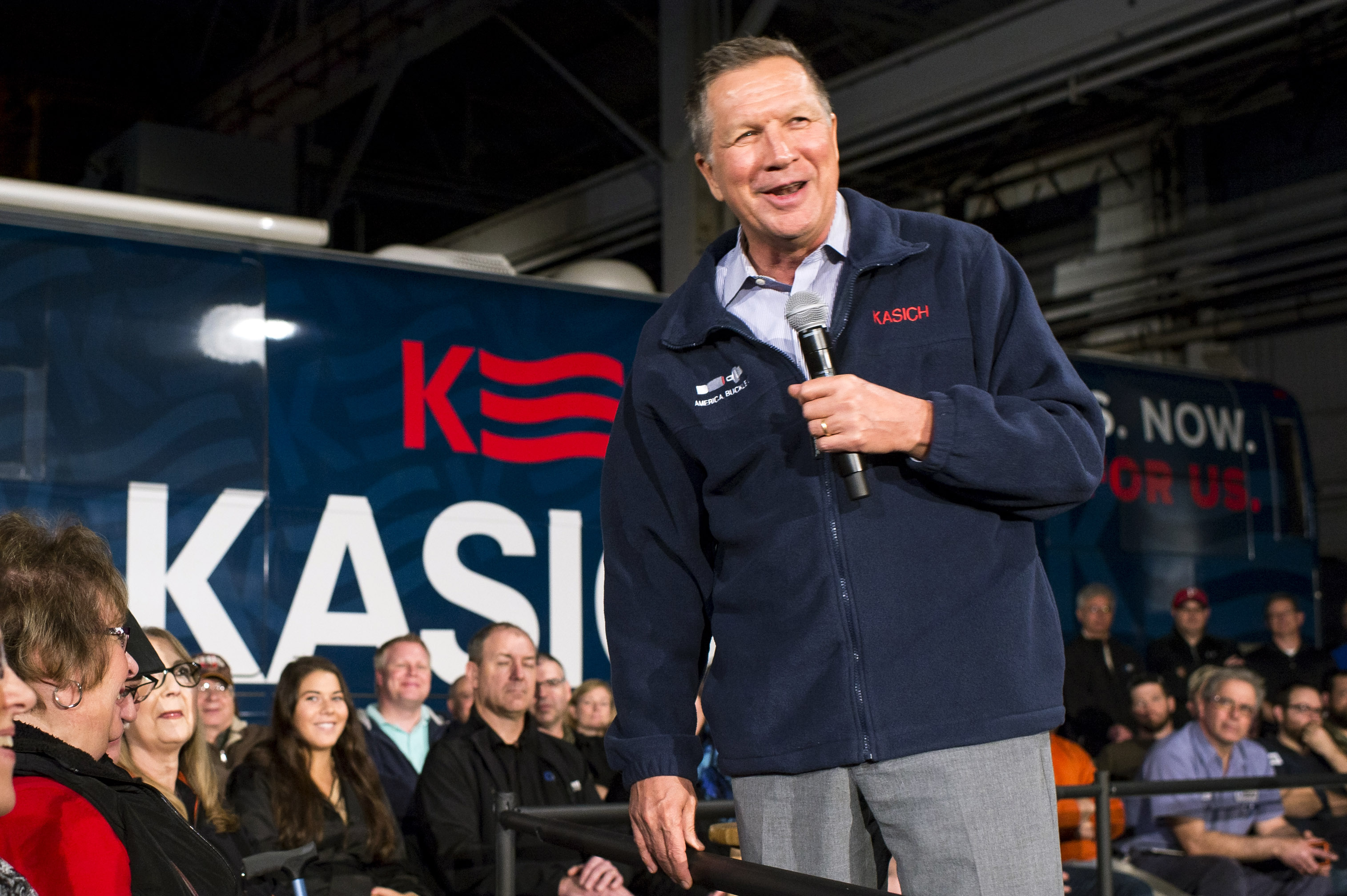 YOUNGSTOWN, OH - MARCH 14:  Republican presidential candidate Ohio Gov. John Kasich speaks to supporters at a town hall meeting at Brilex Industries, Inc. on March 14, 2016 in Youngstown, Ohio. The campaign stop comes less than 24 hours before polls open in Ohio's winner-take-all primary election.  (Photo by Angelo Merendino/Getty Images)