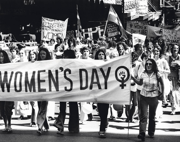 International Women's Day, 12 March 1977. SMH Picture by DAVID BARTHO