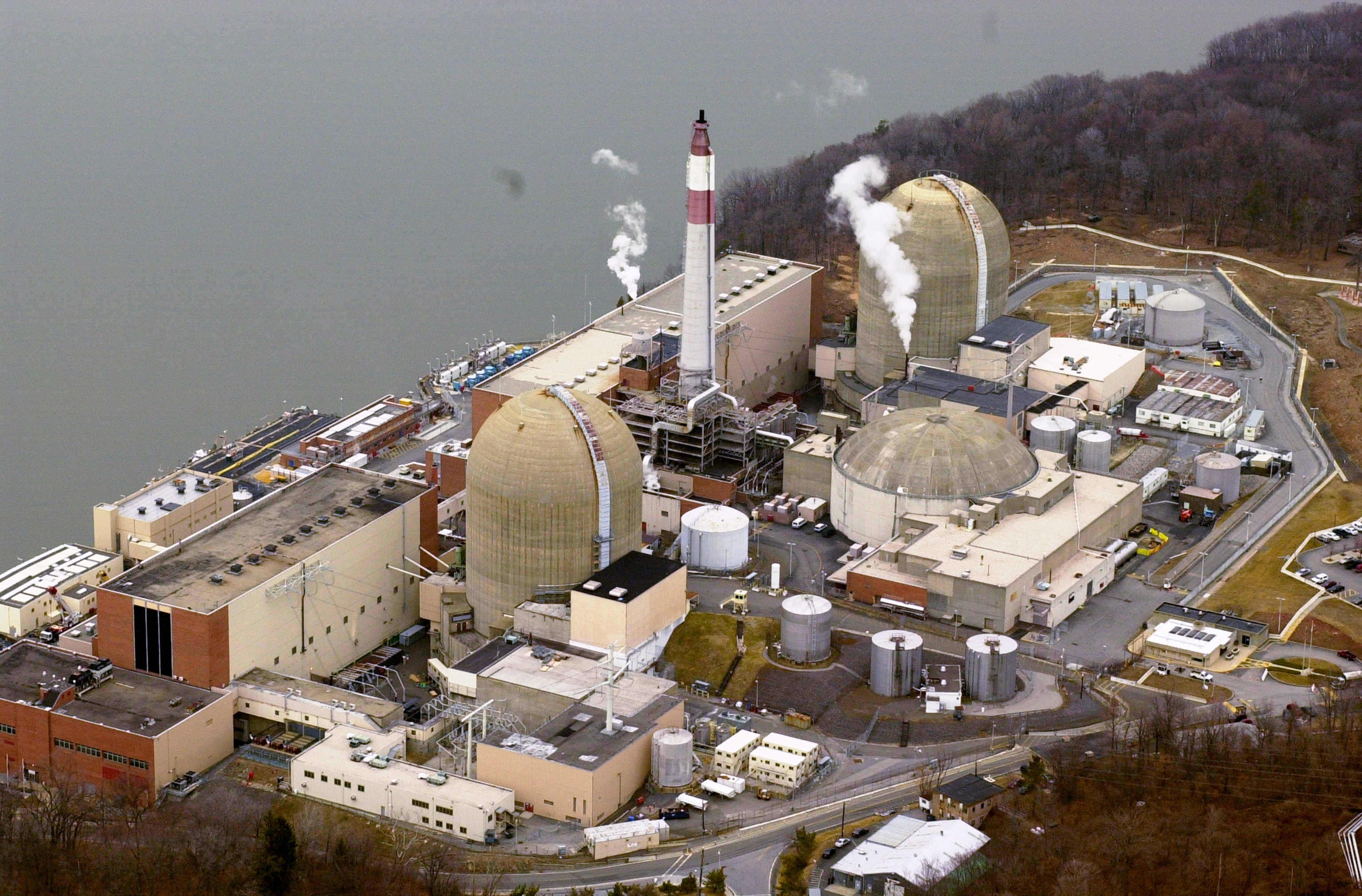 UNITED STATES - FEBRUARY 19: Aerial view of the Indian Point nuclear power plant along the banks of the Hudson River in Westchester County.
