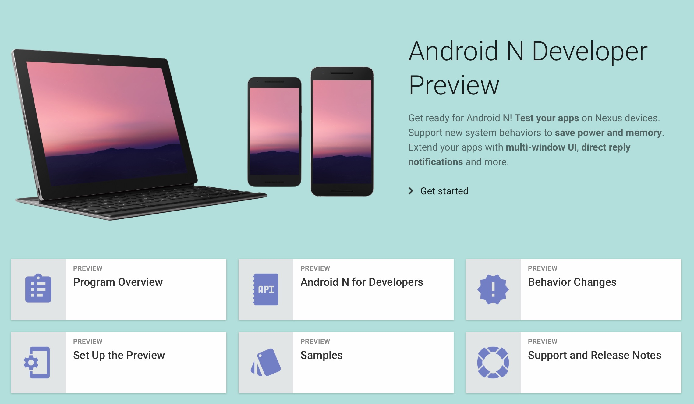 Android N Developer Preview Page