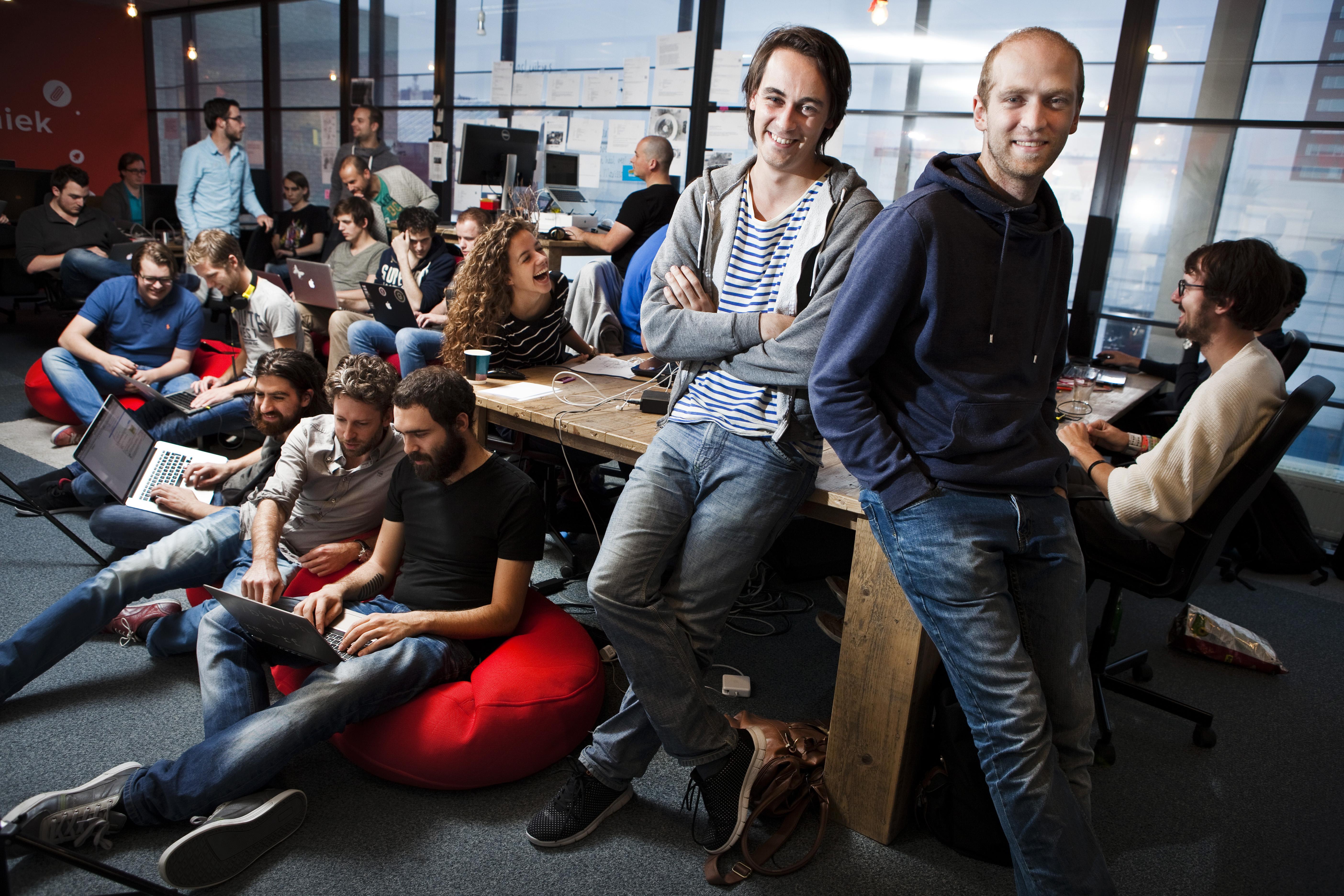 Blendle co-founders Alexander Klopping and Martin Blankesteijn at Blendle's office in Utrecht