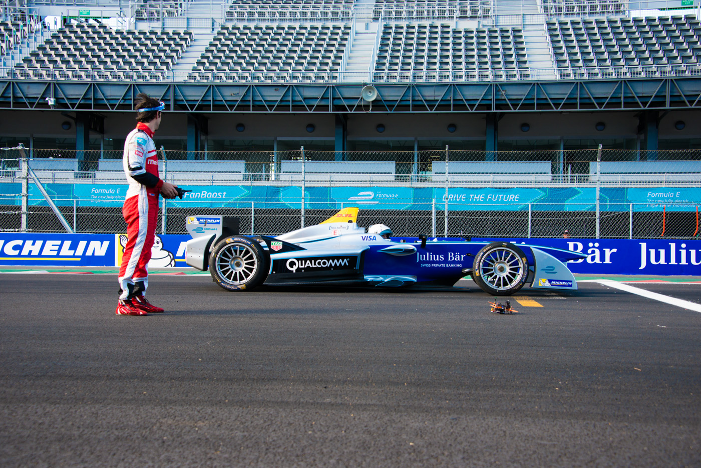 Mahindra Racing driver Bruno Senna, gets ready to pit his Lumenier QAV210 quadcopter against American racer Scott Speed who is driving the Spark-Renault SRT_01E Formula E car. The drone versus car race was filmed at the Autódromo Hermanos Rodríguez circuit in Mexico City.