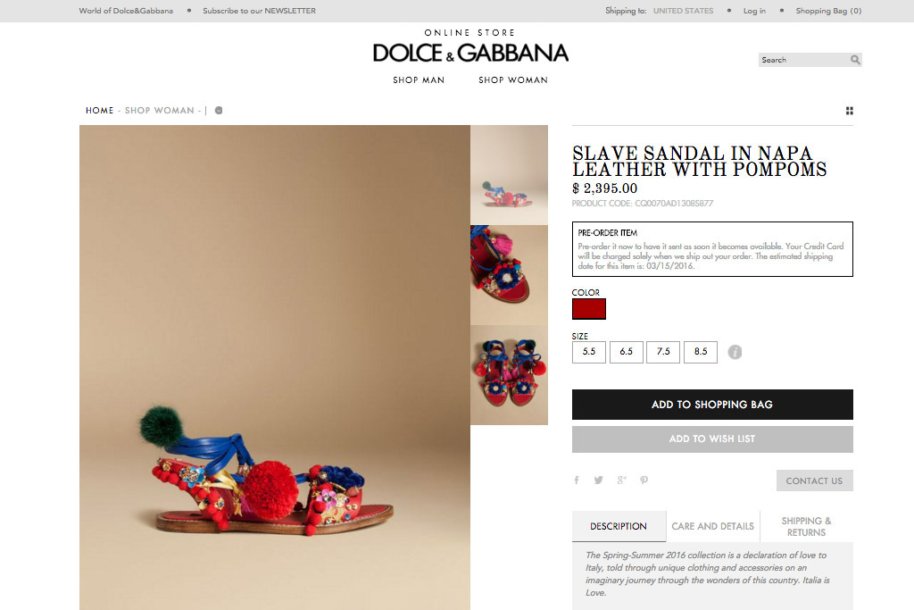 "Screenshot of Dolce & Gabbana's ""Slave Sandals"" before the name was changed."