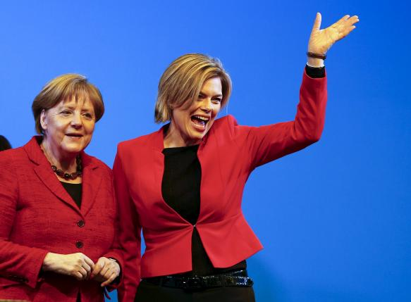 Merkel and Klockner campaign for the CDU during a rally for the federal Rhineland-Palatinate state elections in Bad Neuenahr-Ahrweiler