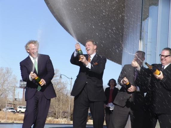 Handout photo shows Aubrey McClendon christening a boathouse in Oklahoma City