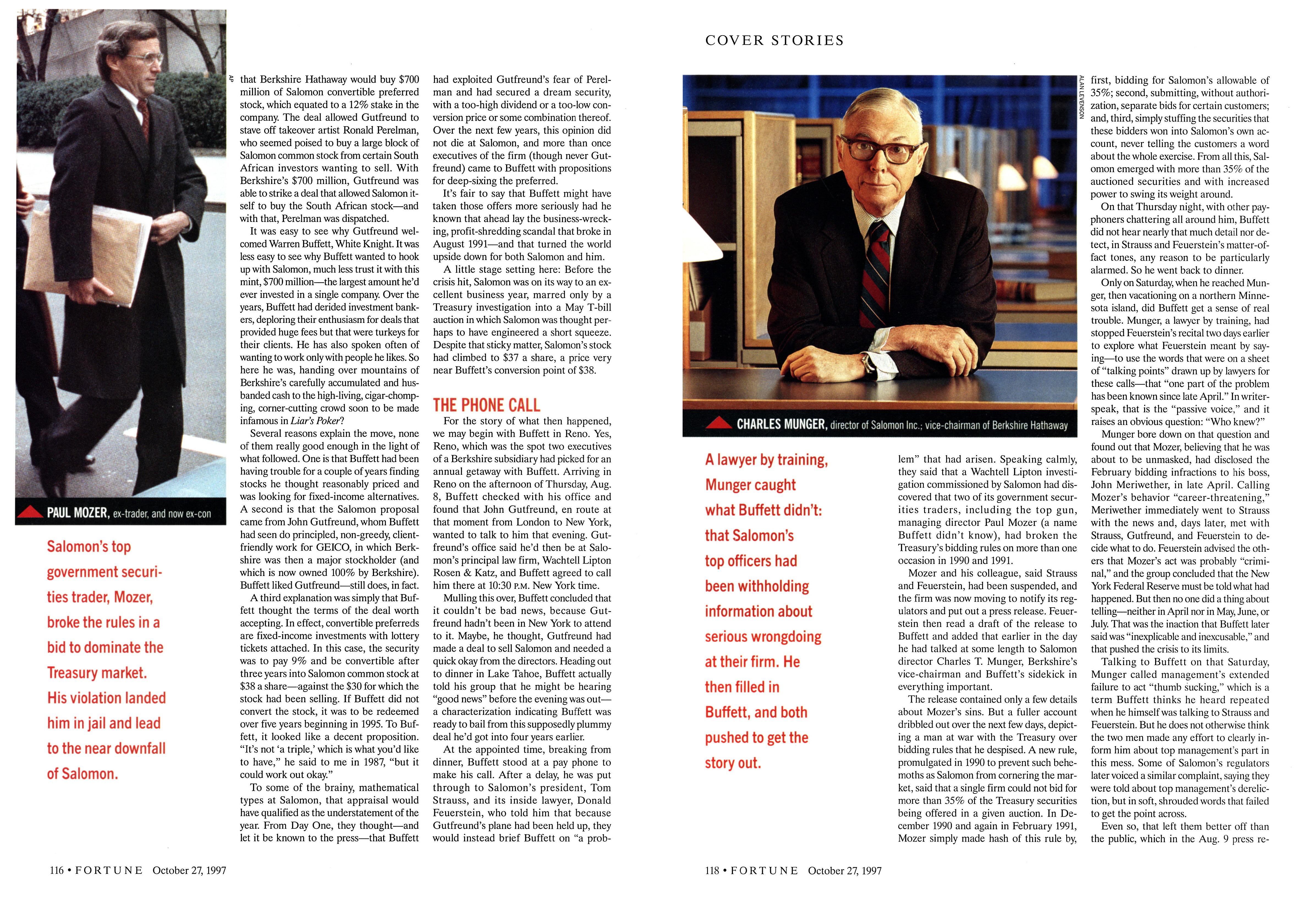 Warren Buffett's Wild Ride at Salomon   Fortune