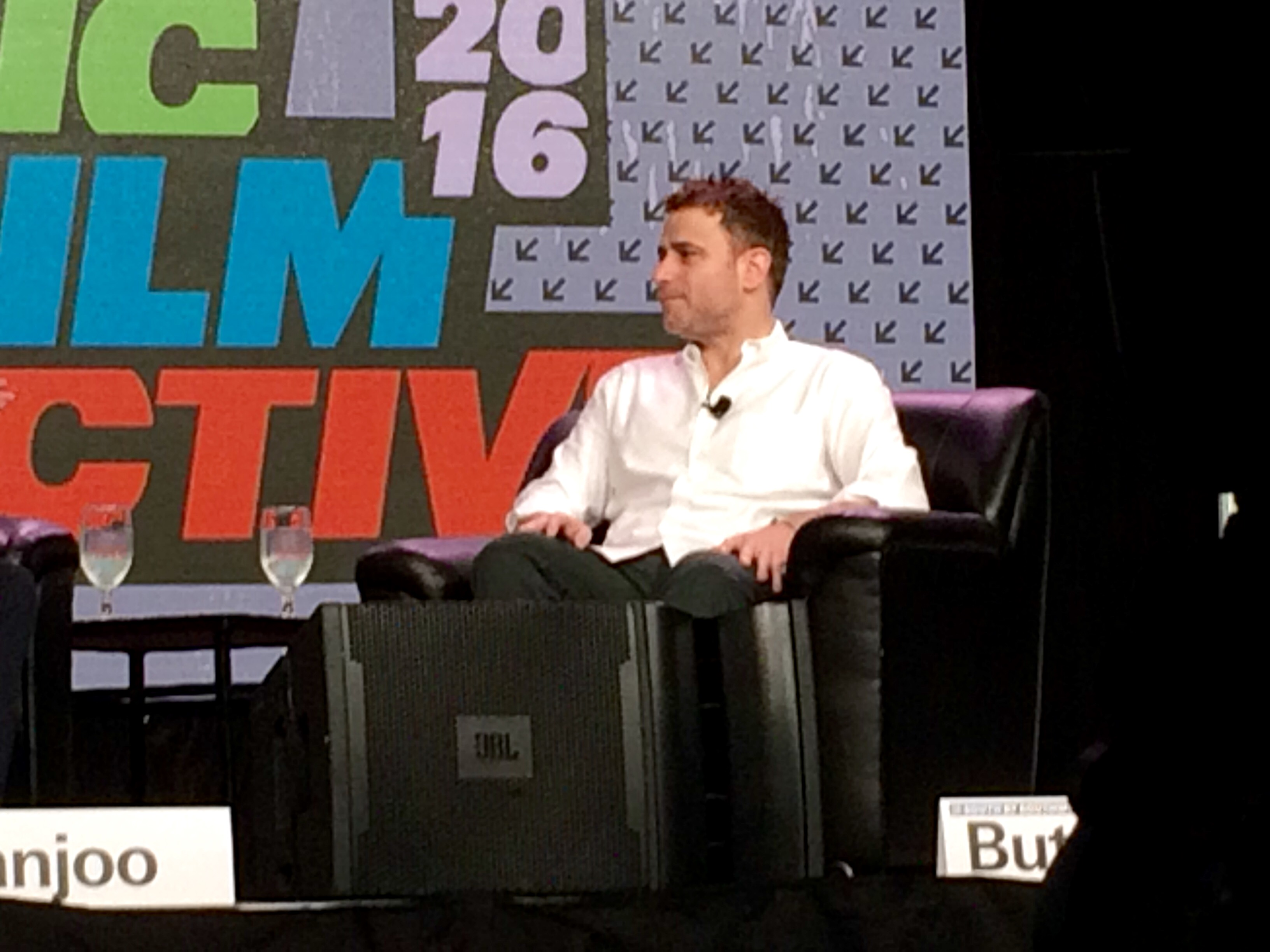 Slack co-founder Stewart Butterfield on stage at South by Southwest in Austin, March 2016.