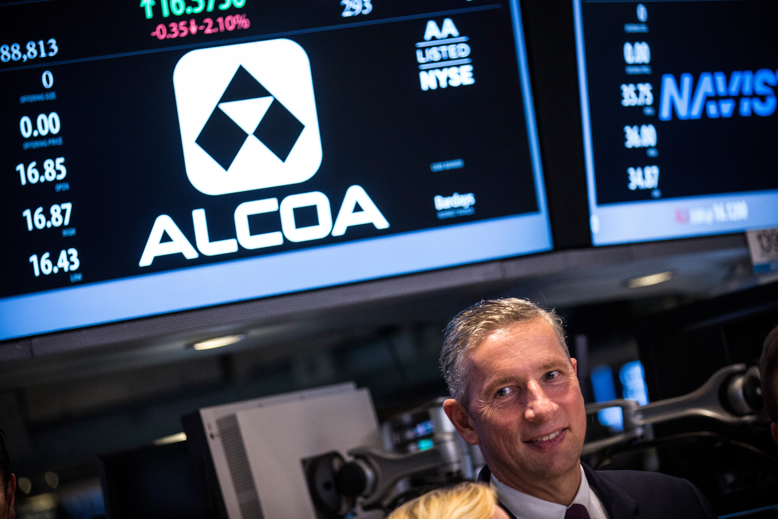 Alcoa CEO Klaus Kleinfeld Rings The Closing Bell At The New York Stock Exchange