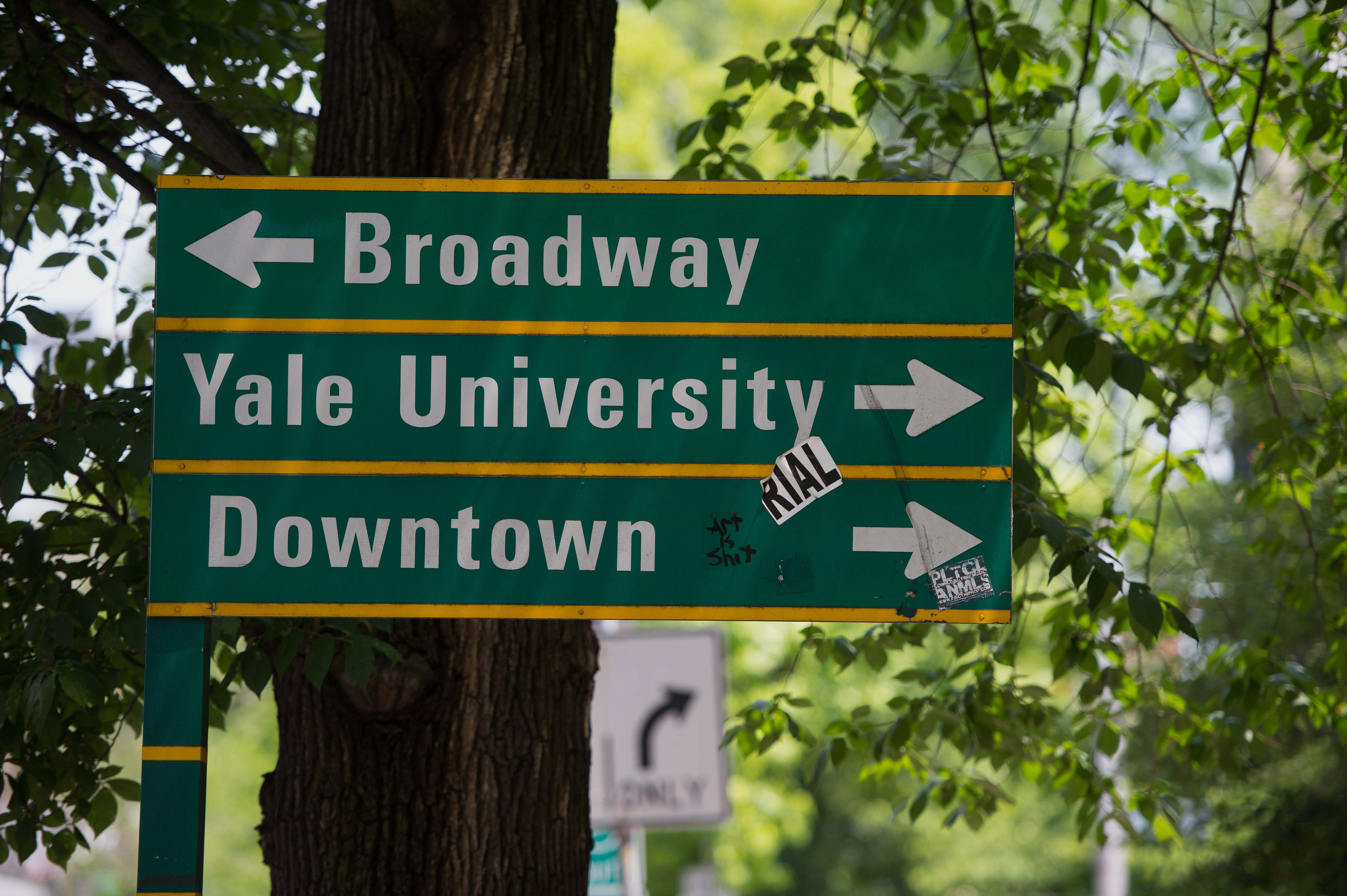 A street sign on the campus of Yale University in New Haven, CT, U.S., on Friday, June 12, 2015. Photographer: Craig Warga/Bloomberg *** Local Caption ***