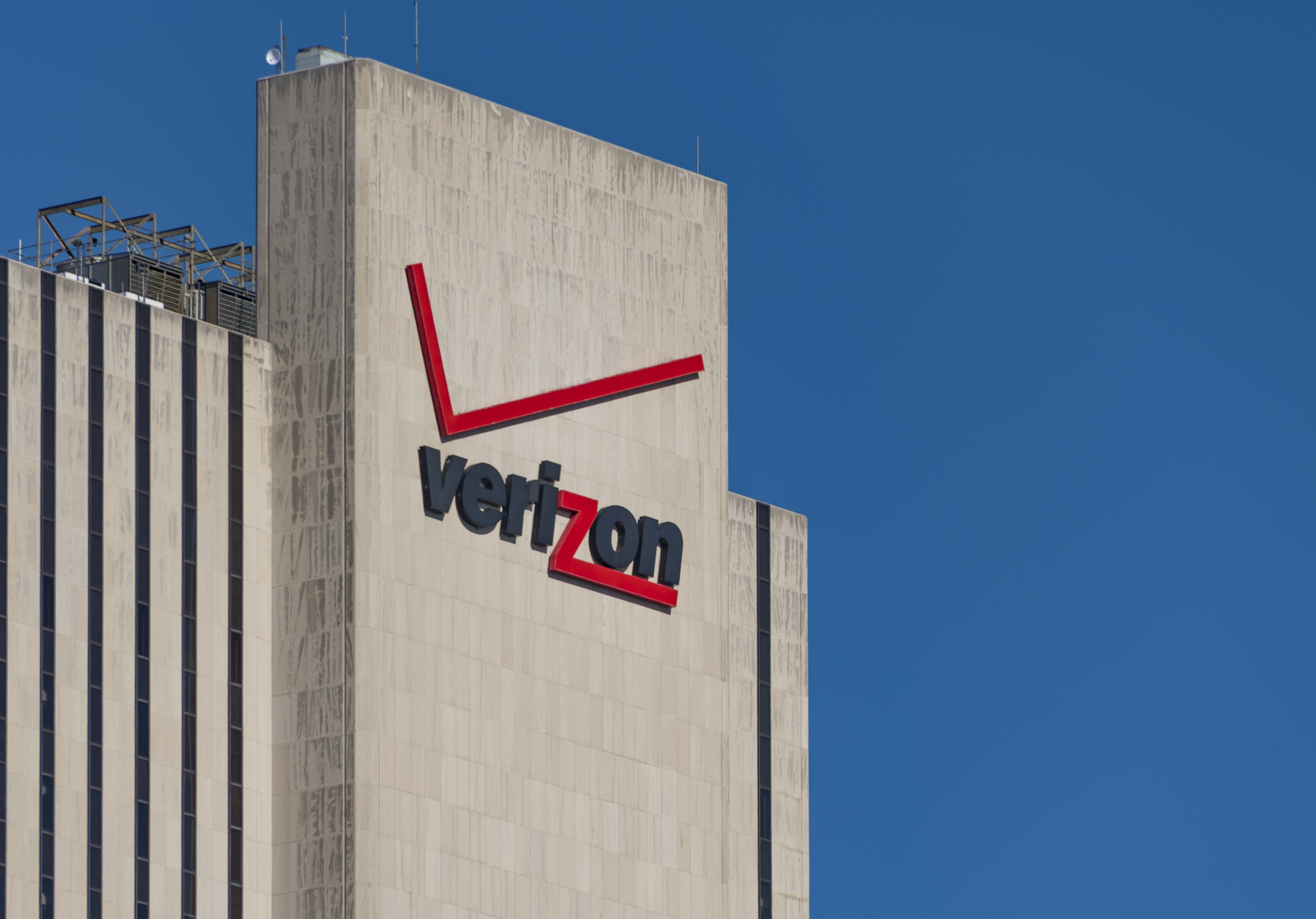 Verizon signage and logo on its building at 375 pearl street