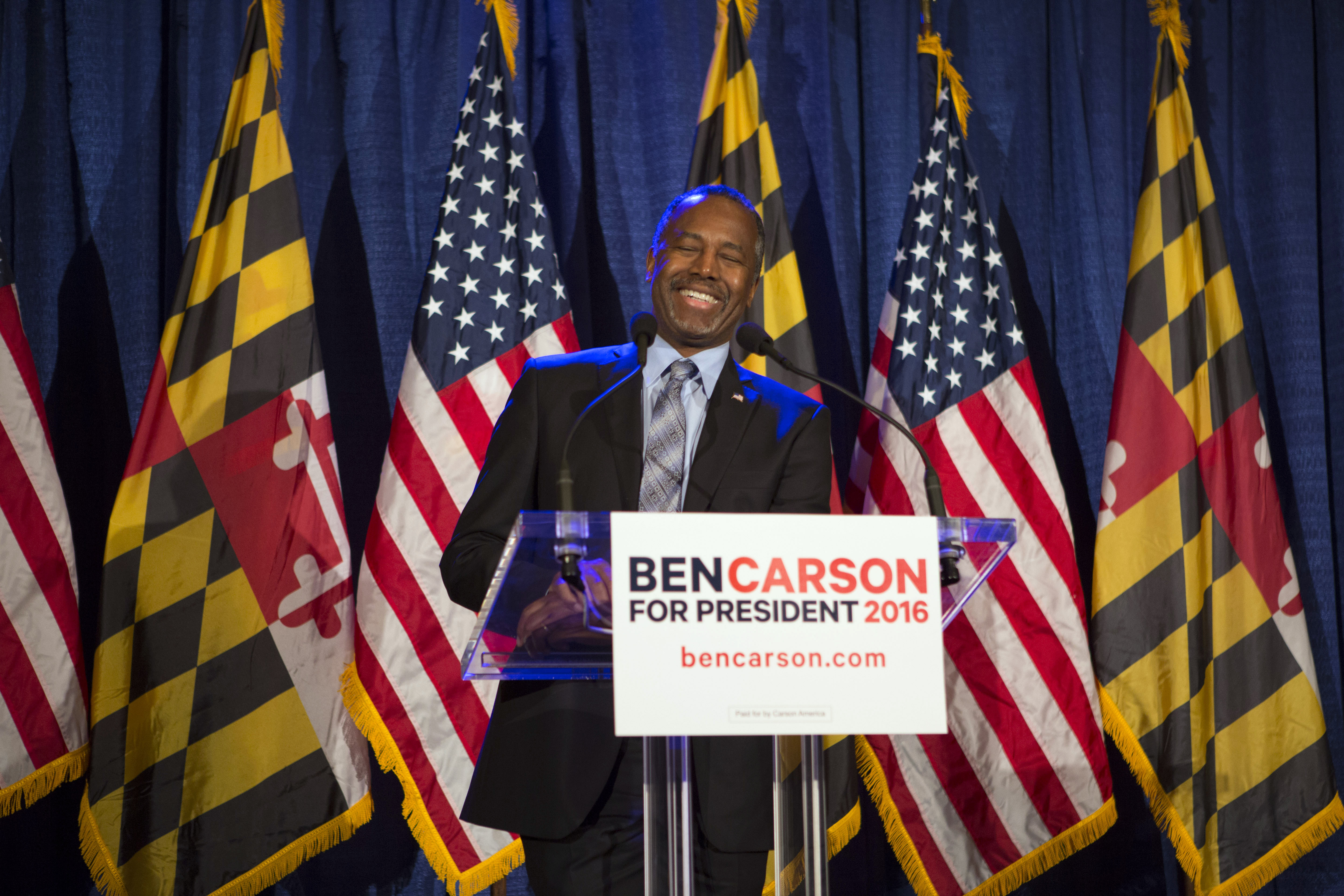 BALTIMORE, MD - MARCH 1: Republican candidate Dr. Ben Carson speaks to supporters at his campaign at his Super Tuesday election party at the Grand Hotel on March 1, 2016 in Baltimore, Maryland. Despite trailing the other Republican candidates on the most significant night of primary voting, Dr. Carson vowed to continue his campaign and remain in the running. (Photo by Jessica Kourkounis/Getty Images)