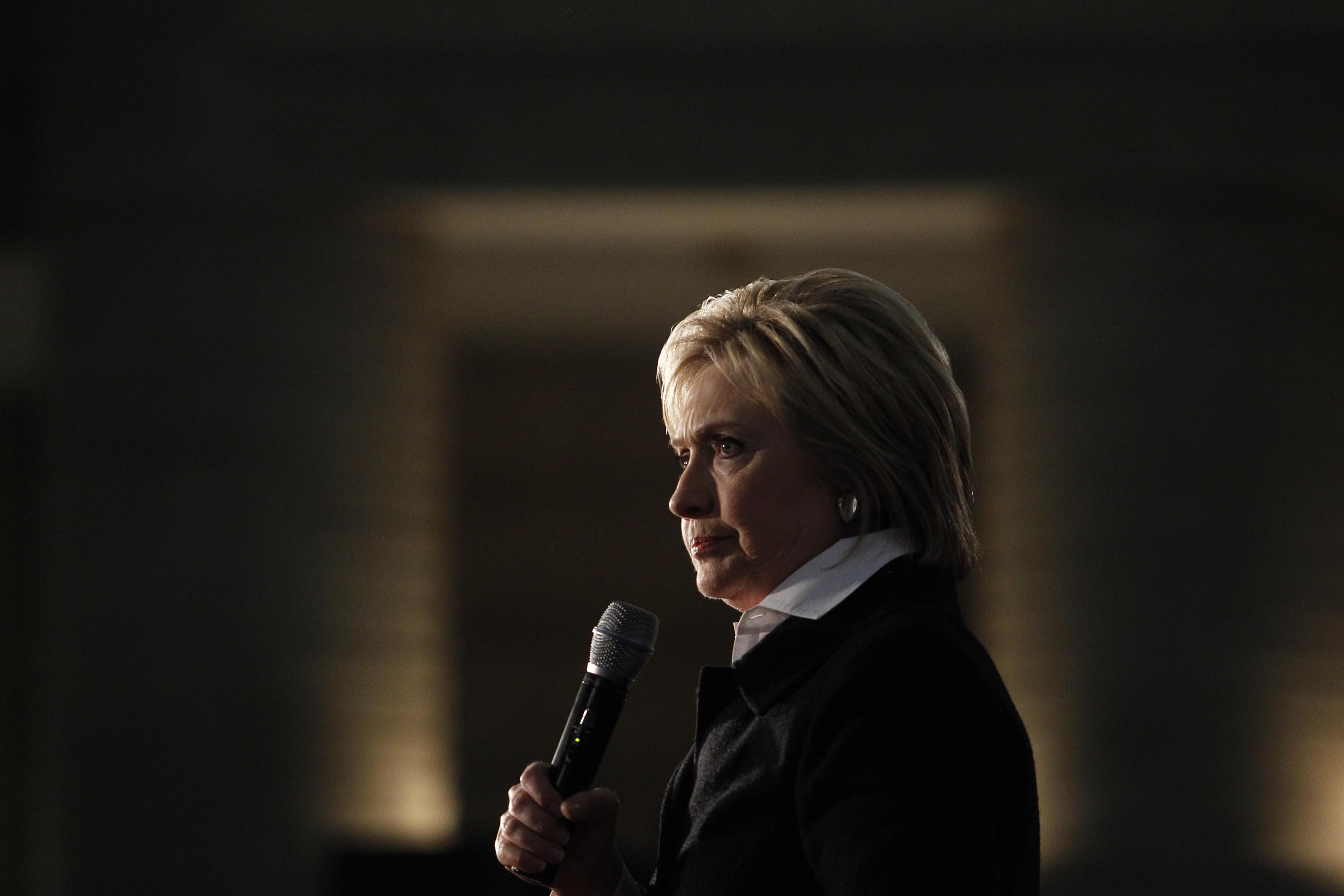 Detroit, MI - March 7: Democratic Presidential Candidate Hillary Clinton speaks at the Charles H. Wright Museum of African American History, March 7, 2016, in Detroit, Michigan. Clinton is campaigning in Michigan ahead of the primary on March 8. (Photo by J.D. Pooley/Getty Images)