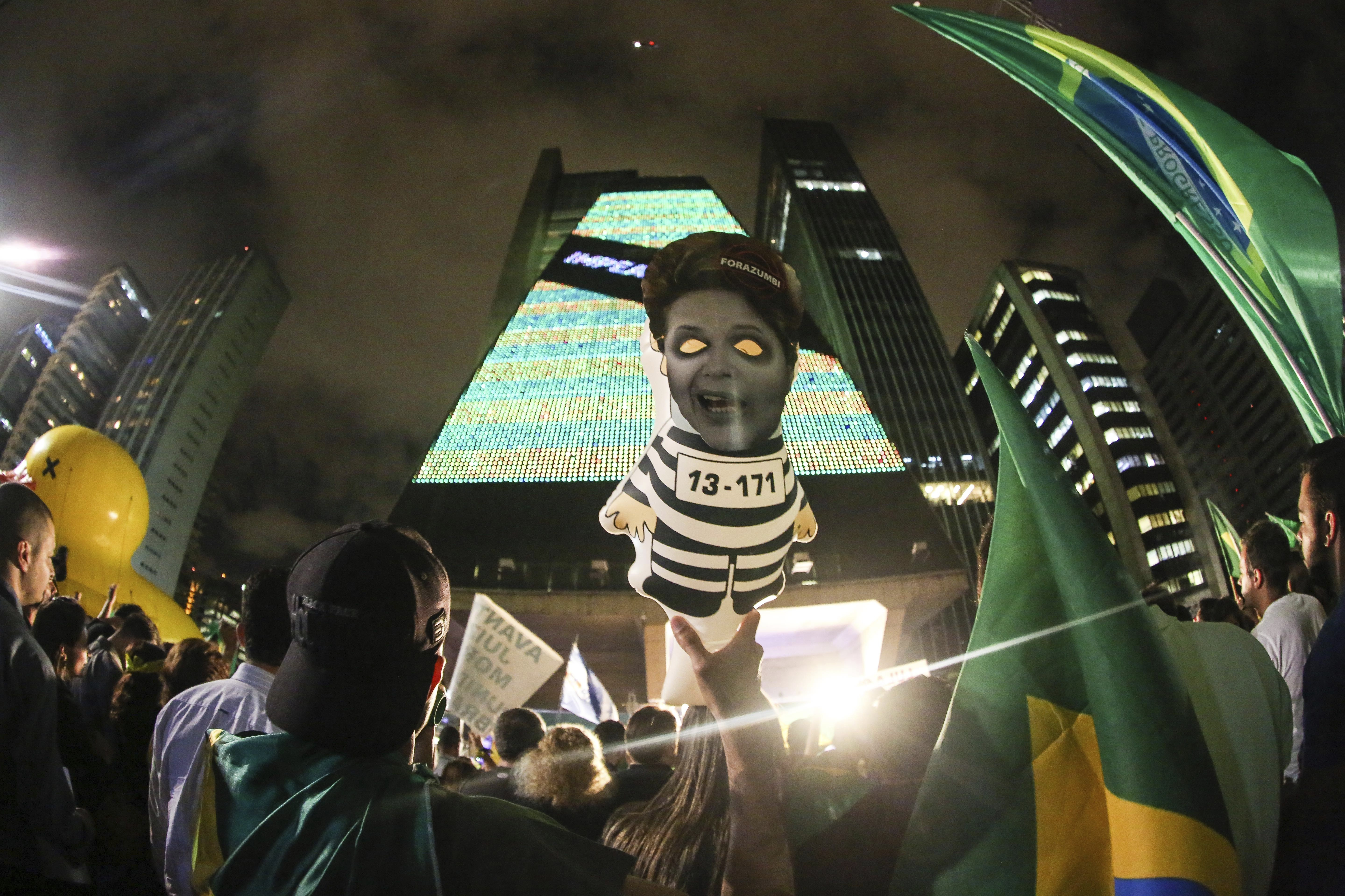 People Protest Against Dilma Roussef's Government in Sao Paulo