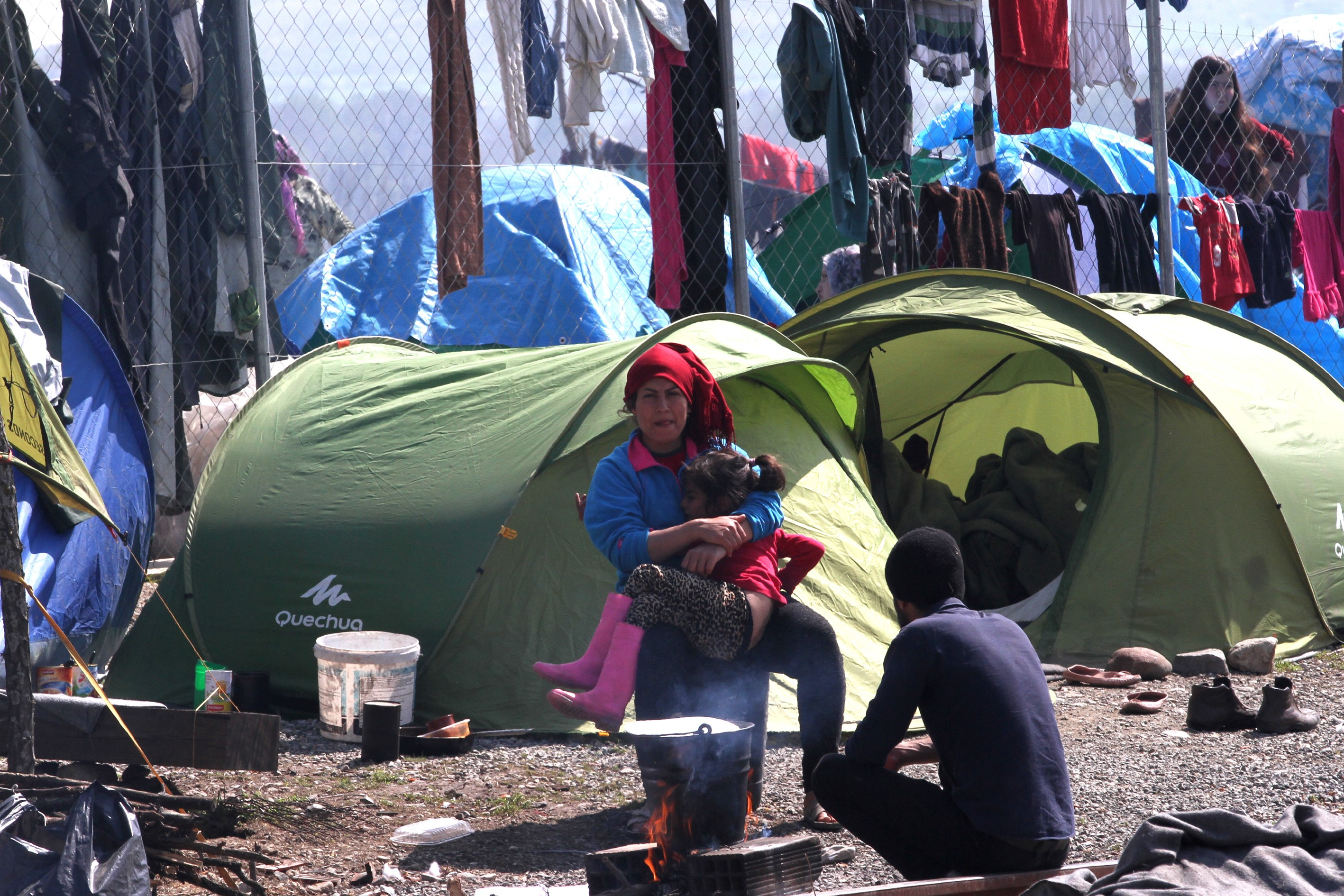 Refugees on Greek-Macedonian border