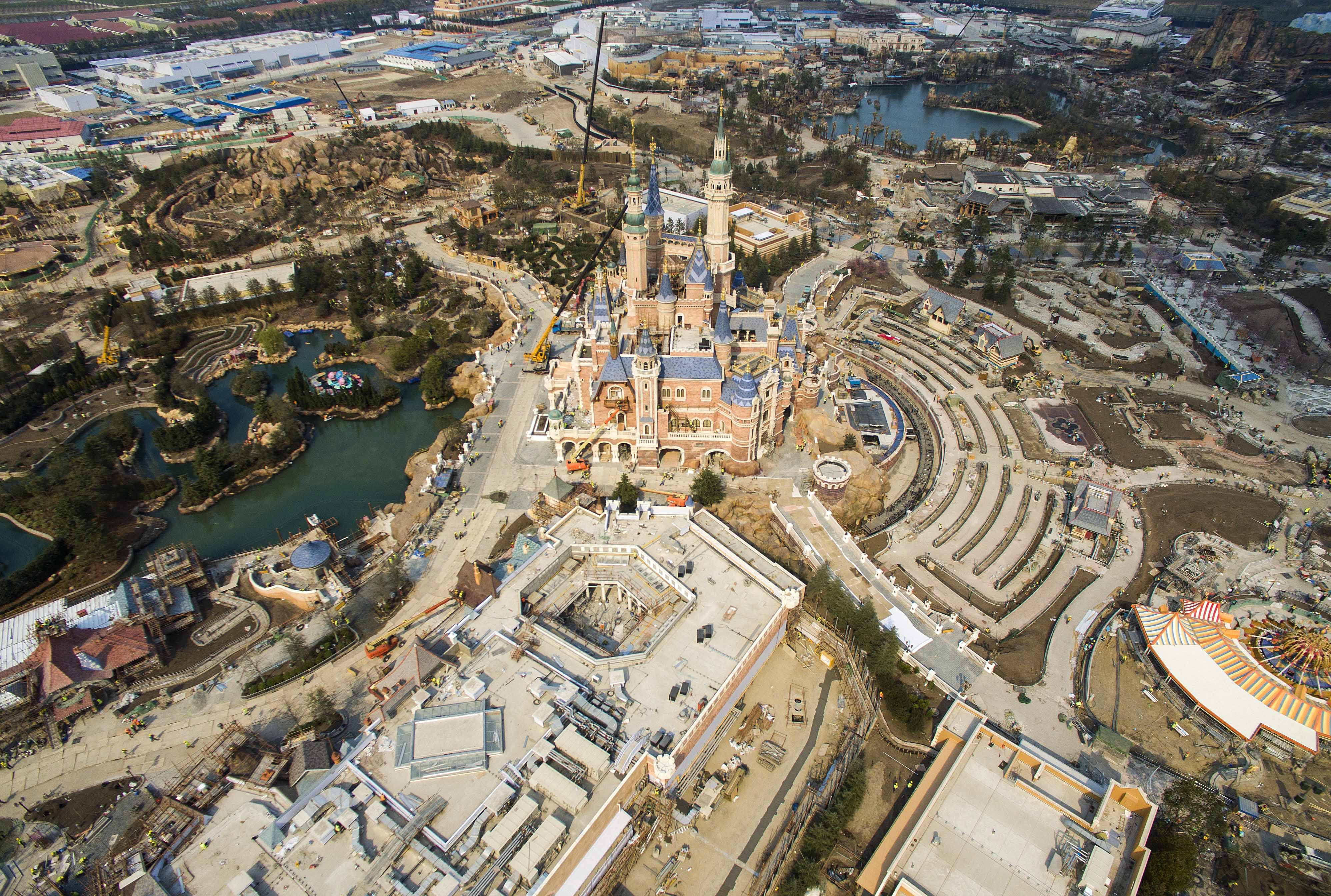 SHANGHAI, CHINA - MARCH 27: (CHINA OUT) Aerial view of the Shanghai Disneyland Park under construction on March 27, 2016 in Shanghai, China. Shanghai Disneyland Park sold ticket from Monday and would open on June 16. (Photo by VCG)***_***