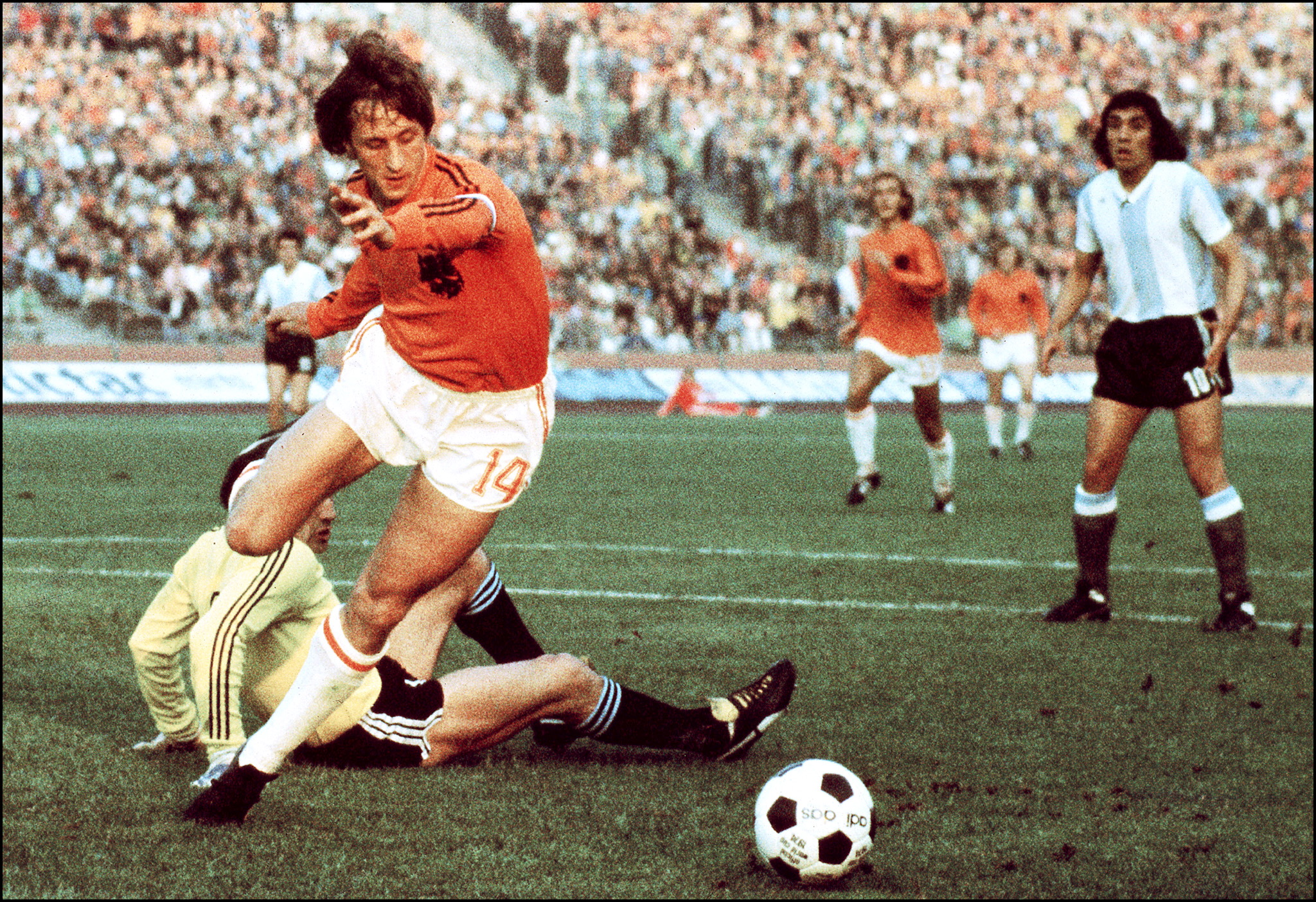 The King. Johan Cruyff in his pomp at the 1974 World Cup finals.