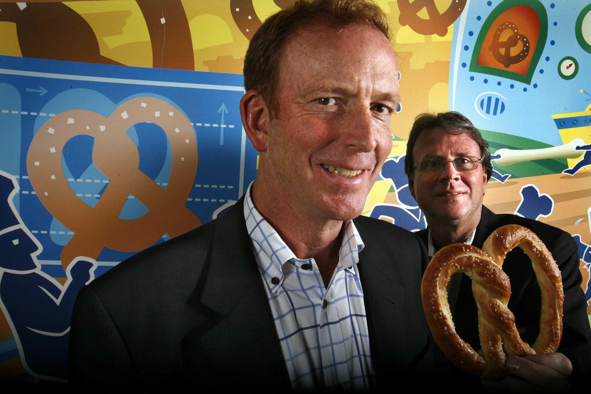 PASADENA, CA- OCTOBER 05, 2012: Bill Phelps and Rick Wetzel, the co-founders of the Wetzel's Pretzel
