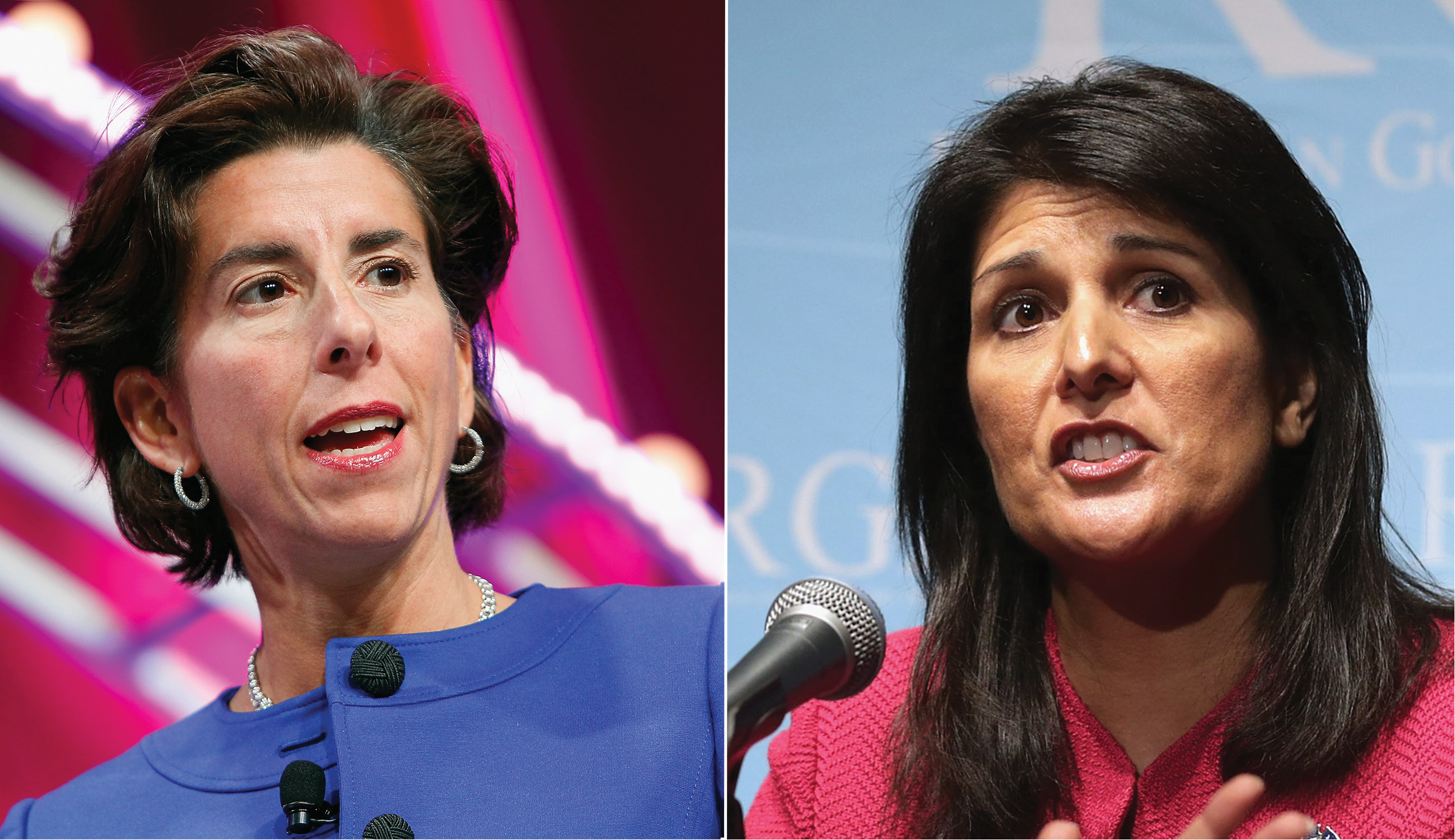 Rhode Island Gov. Gina Raimondo (left) and South Carolina Gov. Nikki Haley.