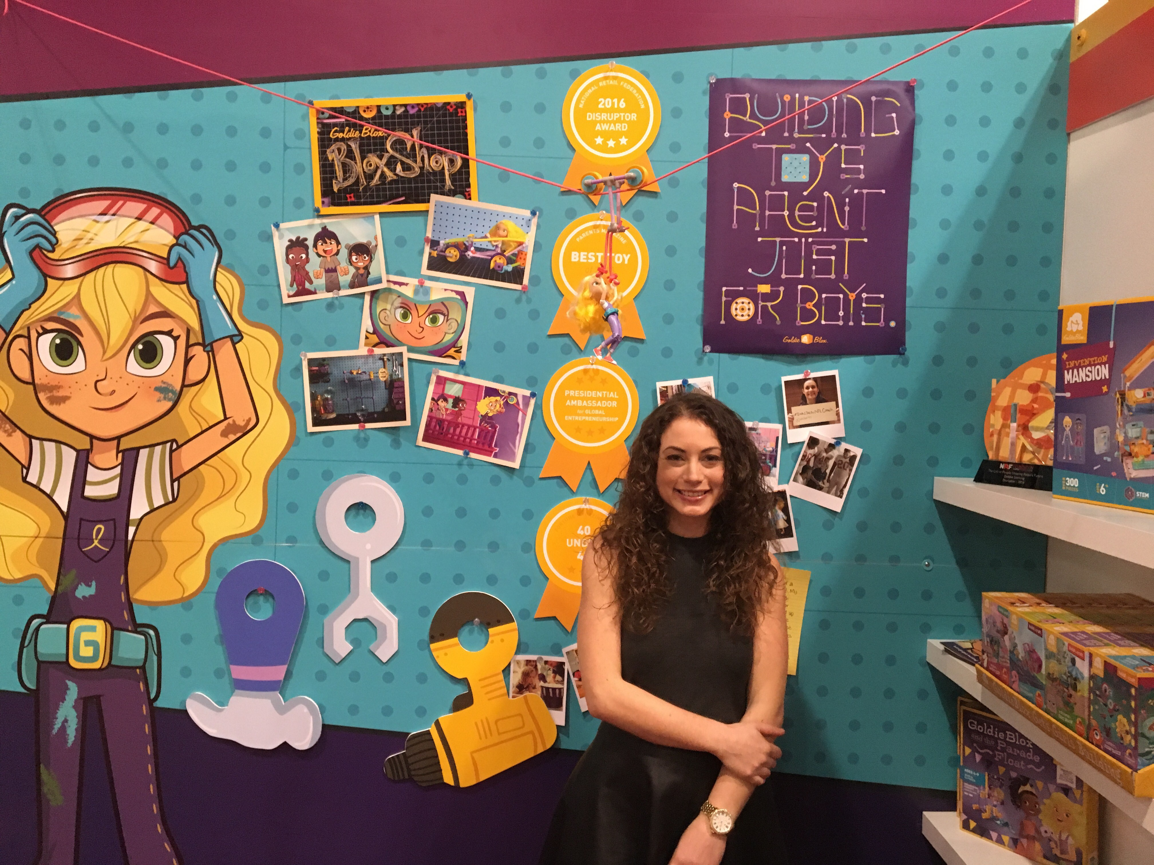 Debbie Sterling, founder of GoldieBlox, stands at the toy maker's booth at the New York Toy Fair in February 2016.