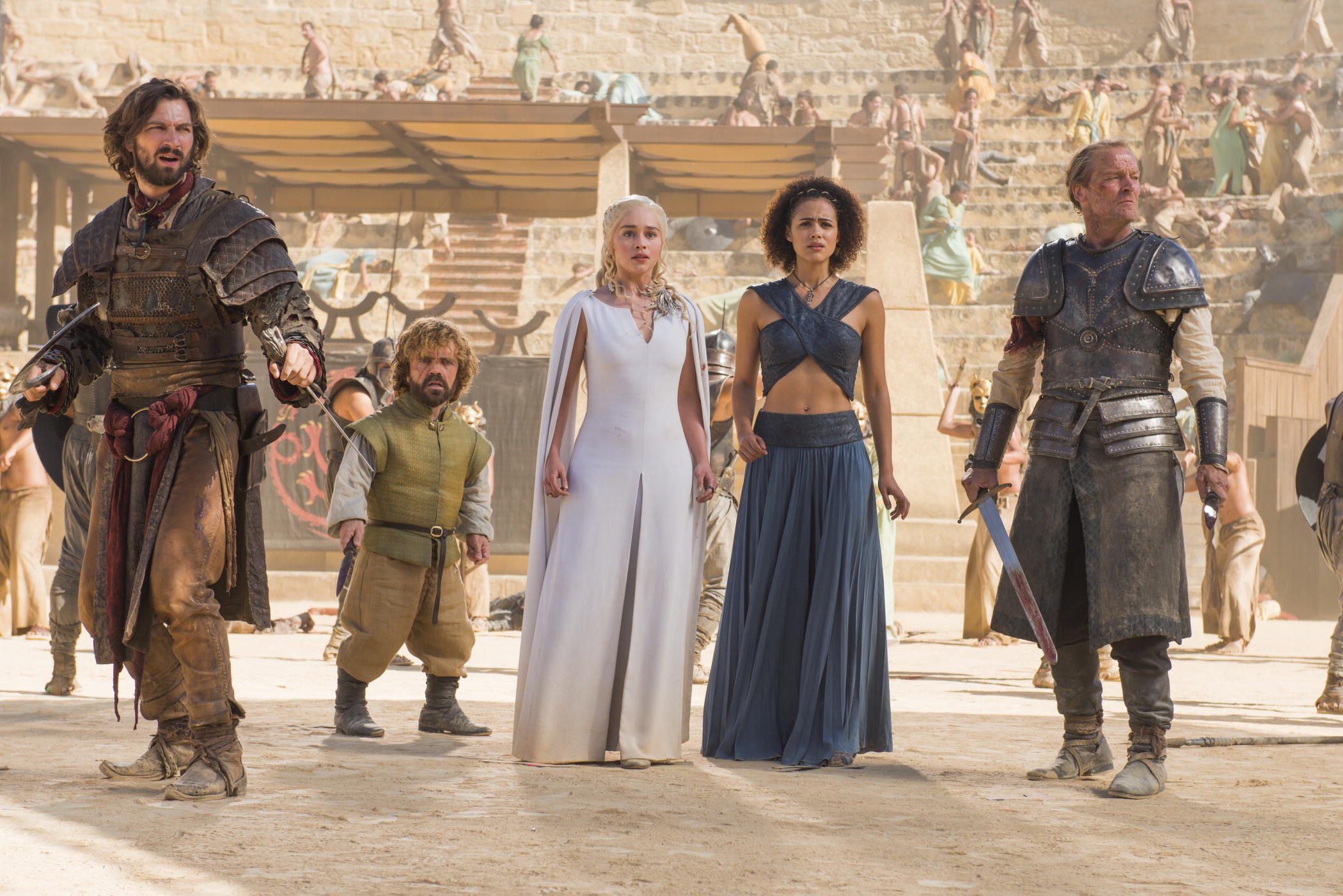 """Michiel Huisman, Peter Dinklage, Emilia Clarke, Nathalie Emmanuel and Iain Glen in """"Game of Thrones,"""" season five. This scene was shot in a bullring in Osuna, Seville, Spain, which is a stop on a 10-day tour of Spain and Morocco offered by the Zicasso travel agency."""
