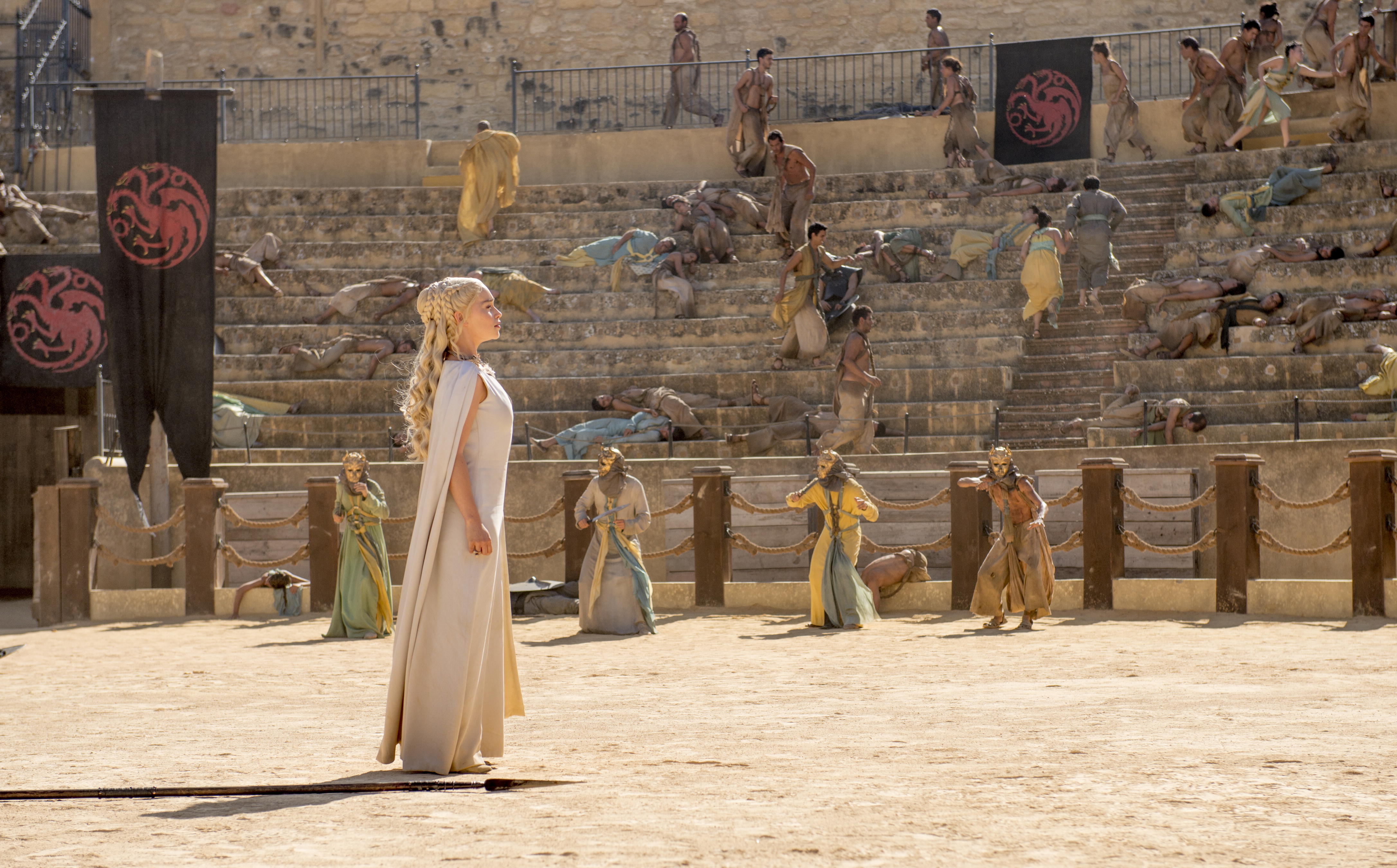 """Emilia Clarke in """"Game of Thrones,"""" season five. This scene was shot in a bullring in Osuna, Seville, Spain, which is a stop on a 10-day tour of Spain and Morocco offered by the Zicasso travel agency."""