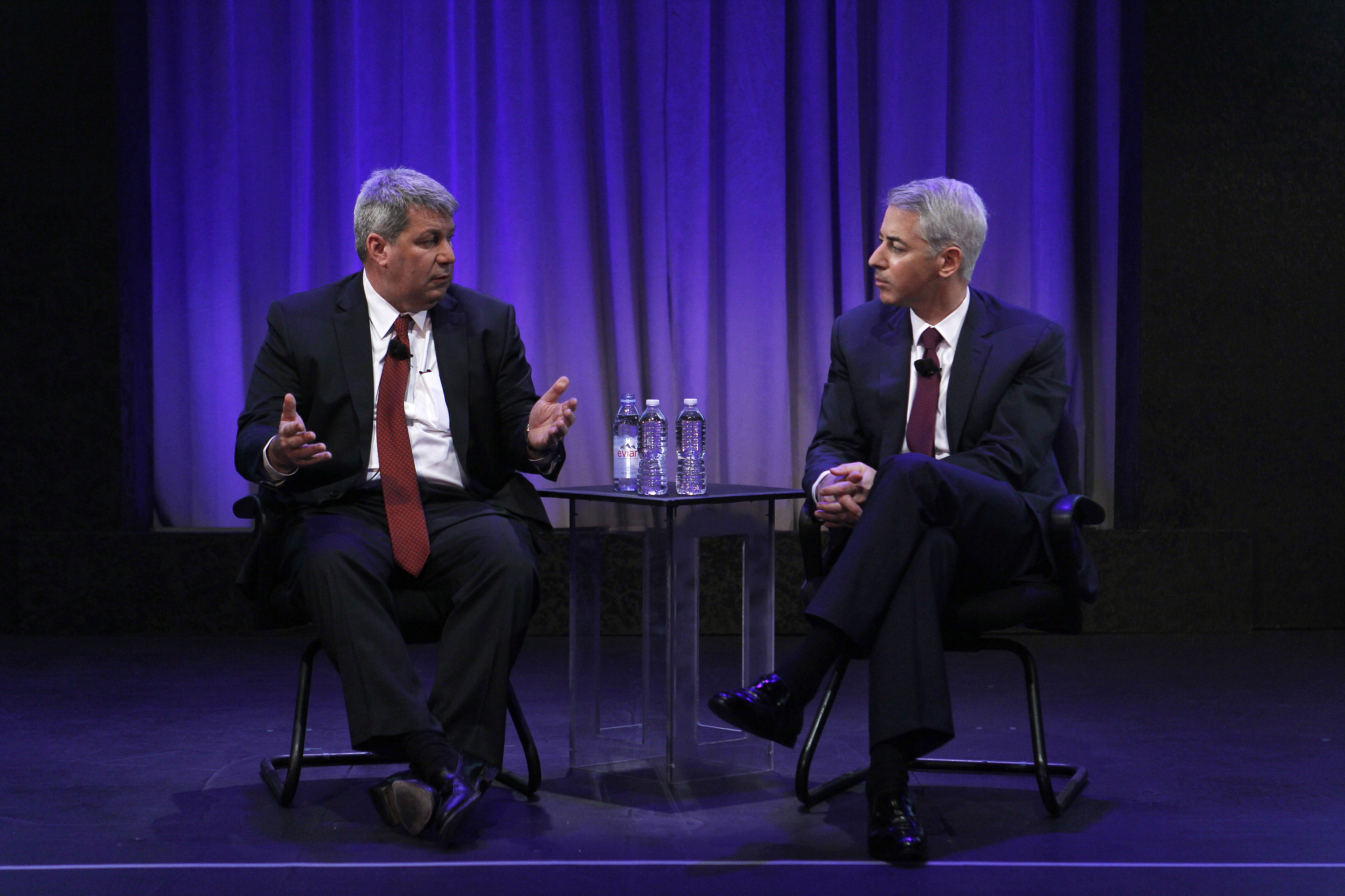 Mike Pearson, left, the chief executive of Valeant Pharmaceuticals, and William Ackman, founder of Pershing Square Capital Management.
