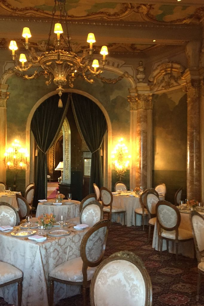 PALM BEACH, FLORIDA - NOVEMBER 1: Elaborate gold dining room in