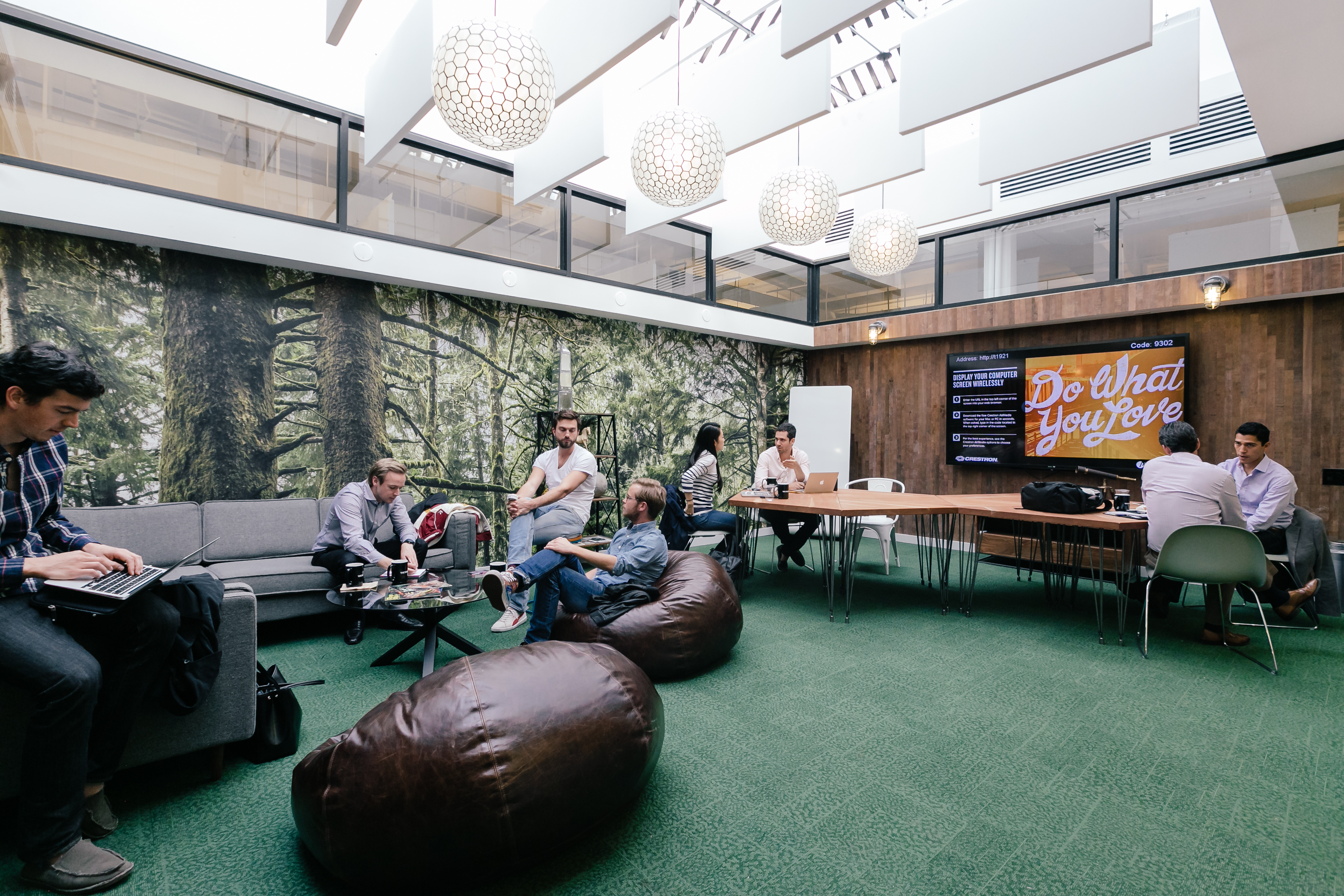 WeWork's West Broadway lounge location in New York City.