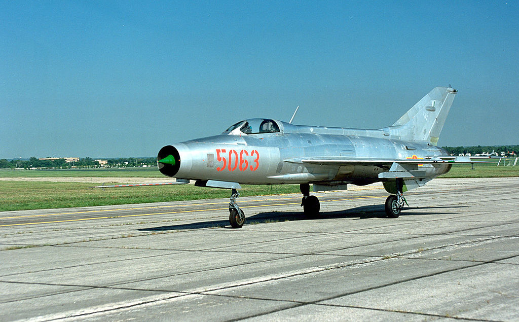 A MiG-21 on the tarmac in Vietnamese livery.