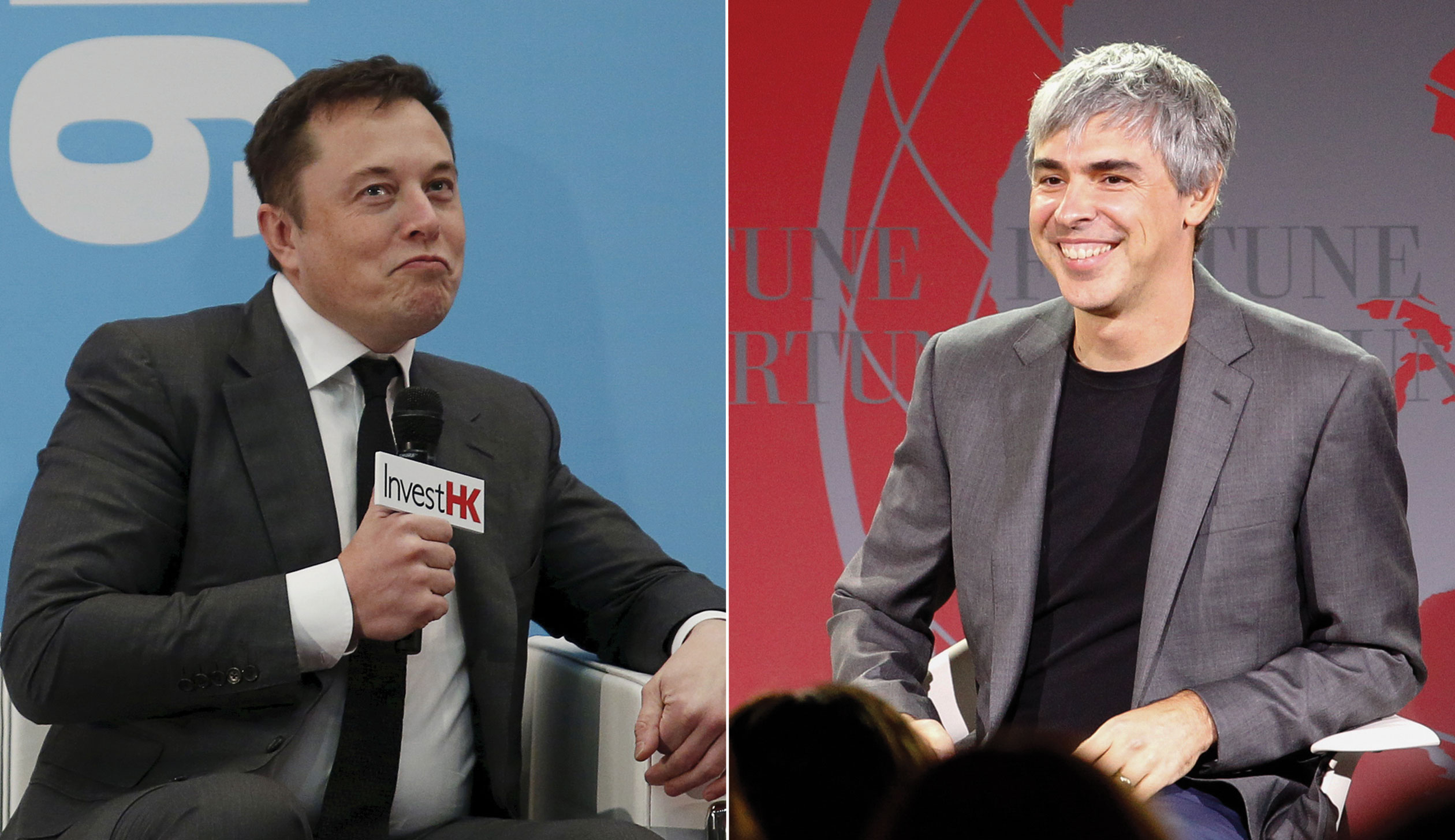 Alphabet CEO Larry Page and Tesla CEO Elon Musk
