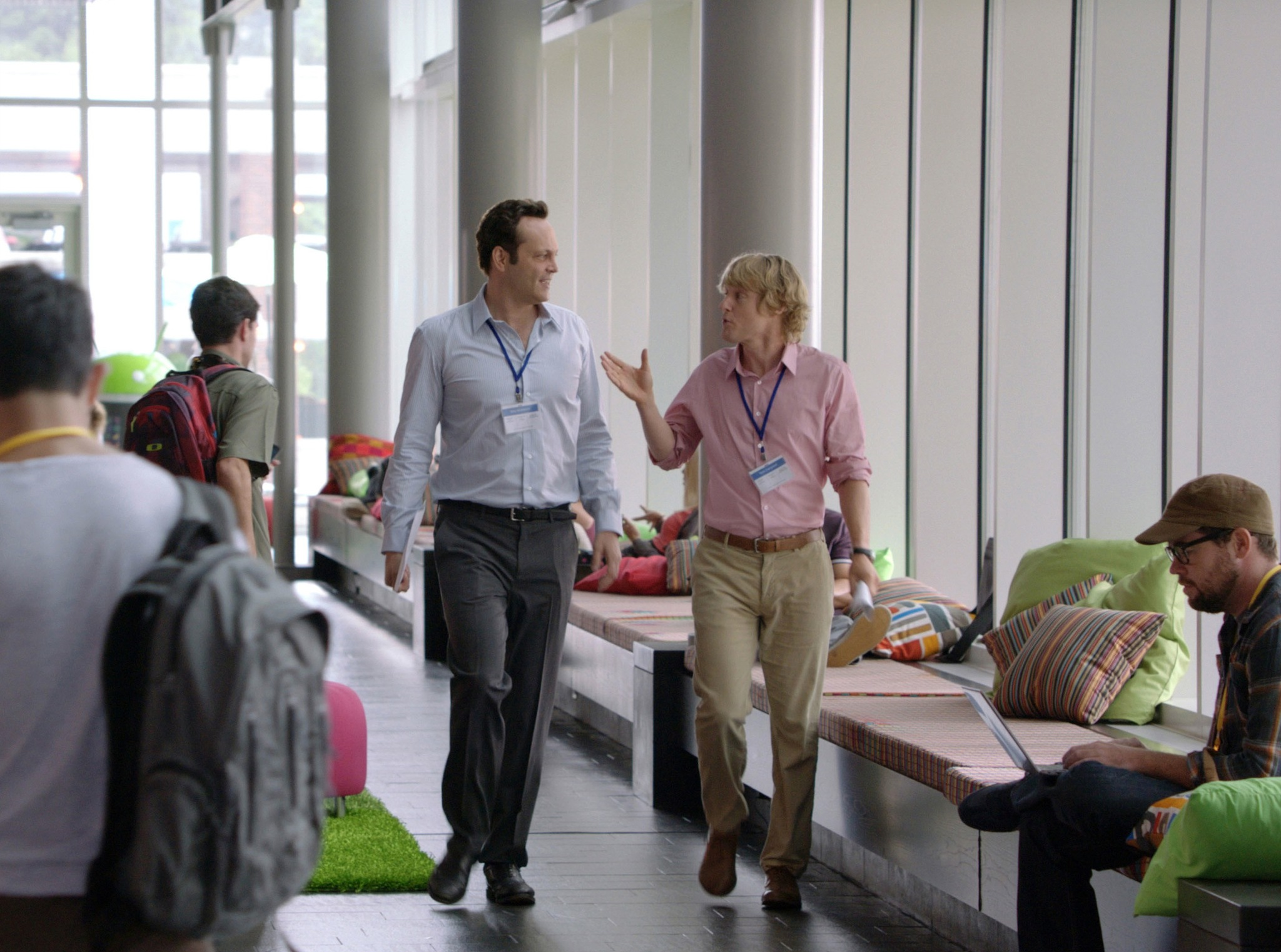 IT-110 - Google interns Billy (Vince Vaughn) and Nick (Owen Wilson) strategize during a walk-a-talk through the company's hallways.