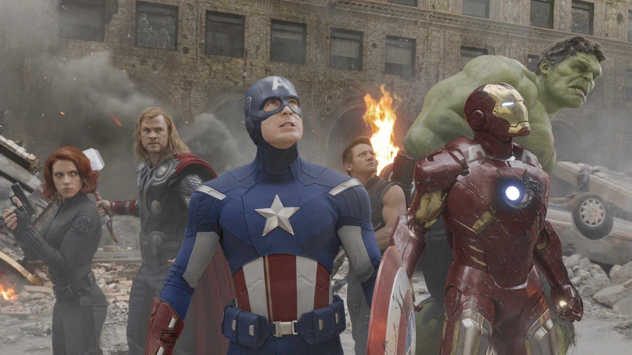 """Marvel's The Avengers""L to R: Black Widow (Scarlett Johansson), Thor (Chris Hemsworth), Captain America (Chris Evans), Hawkeye (Jeremy Renner), Iron Man (Robert Downey Jr.), and Hulk (Mark Ruffalo)Ph: Film Frame © 2011 MVLFFLLC. TM & © 2011 Marvel. All Rights Reserved."